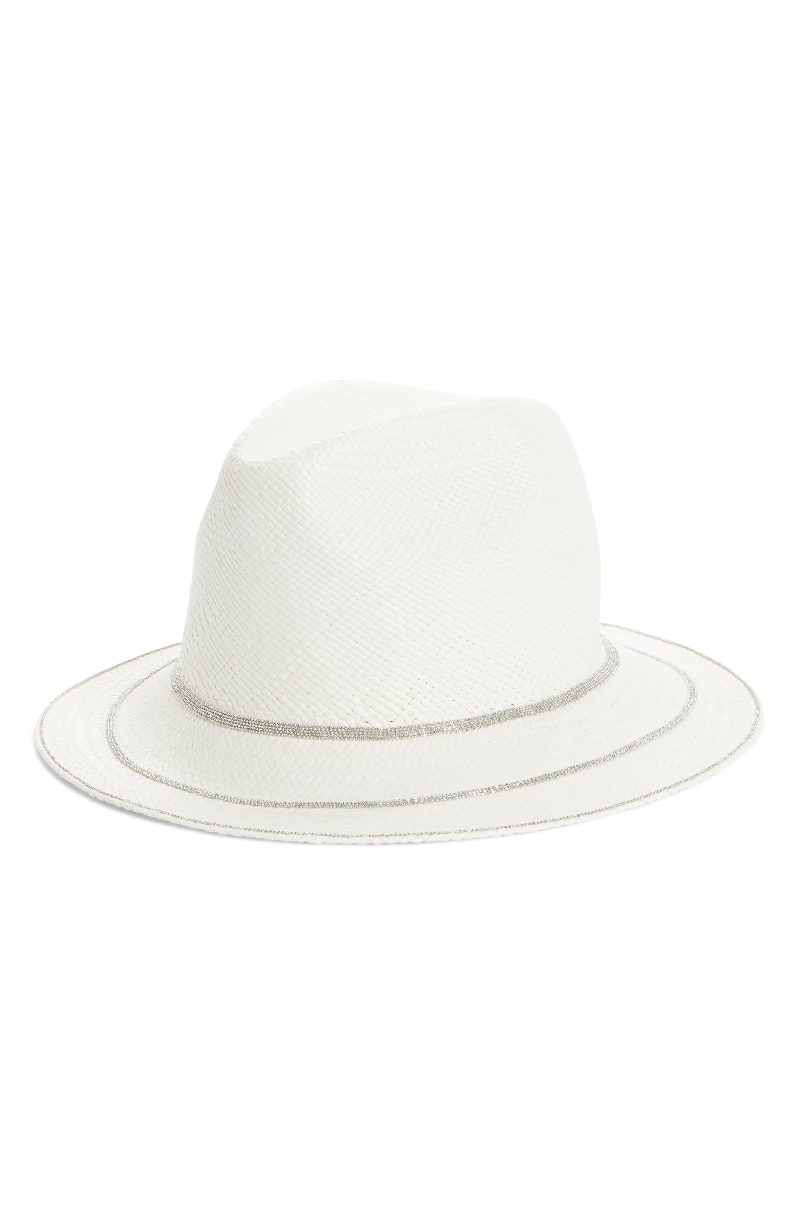 Triple Layer Bead Straw Hat,                         Main,                         color, White