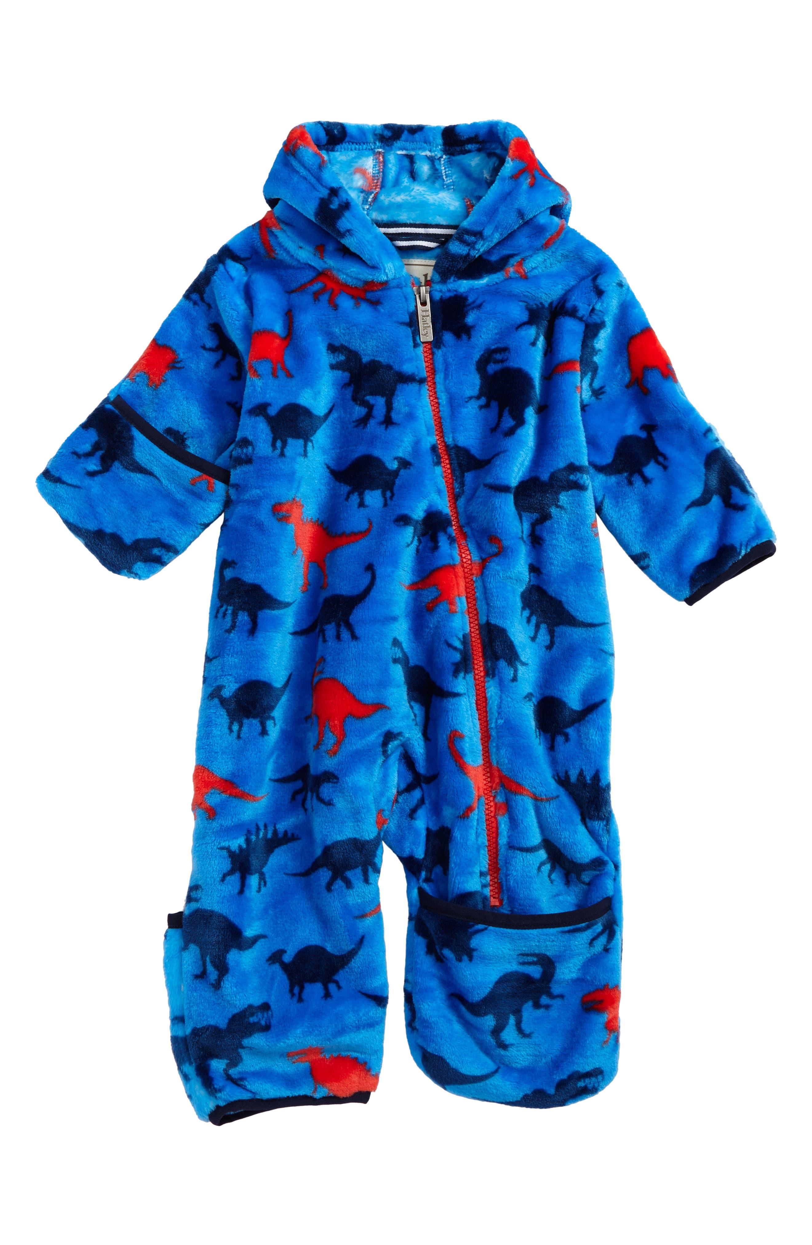 Hatley Dino Print Fuzzy Fleece Bundlers Snowsuit (Baby Boys)