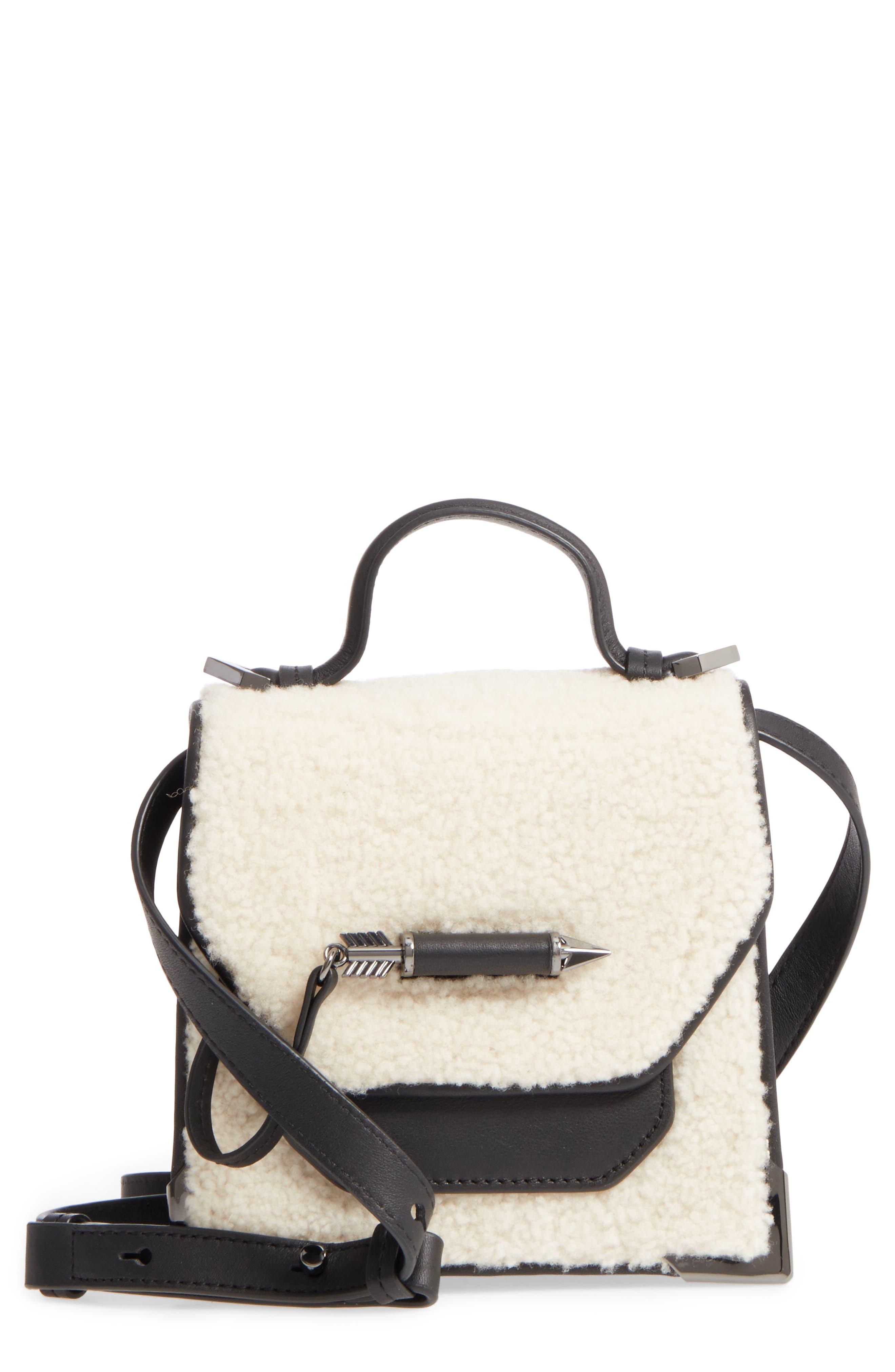 Mini Rubie Genuine Shearling Crossbody Bag,                             Main thumbnail 1, color,                             Black/ Cream