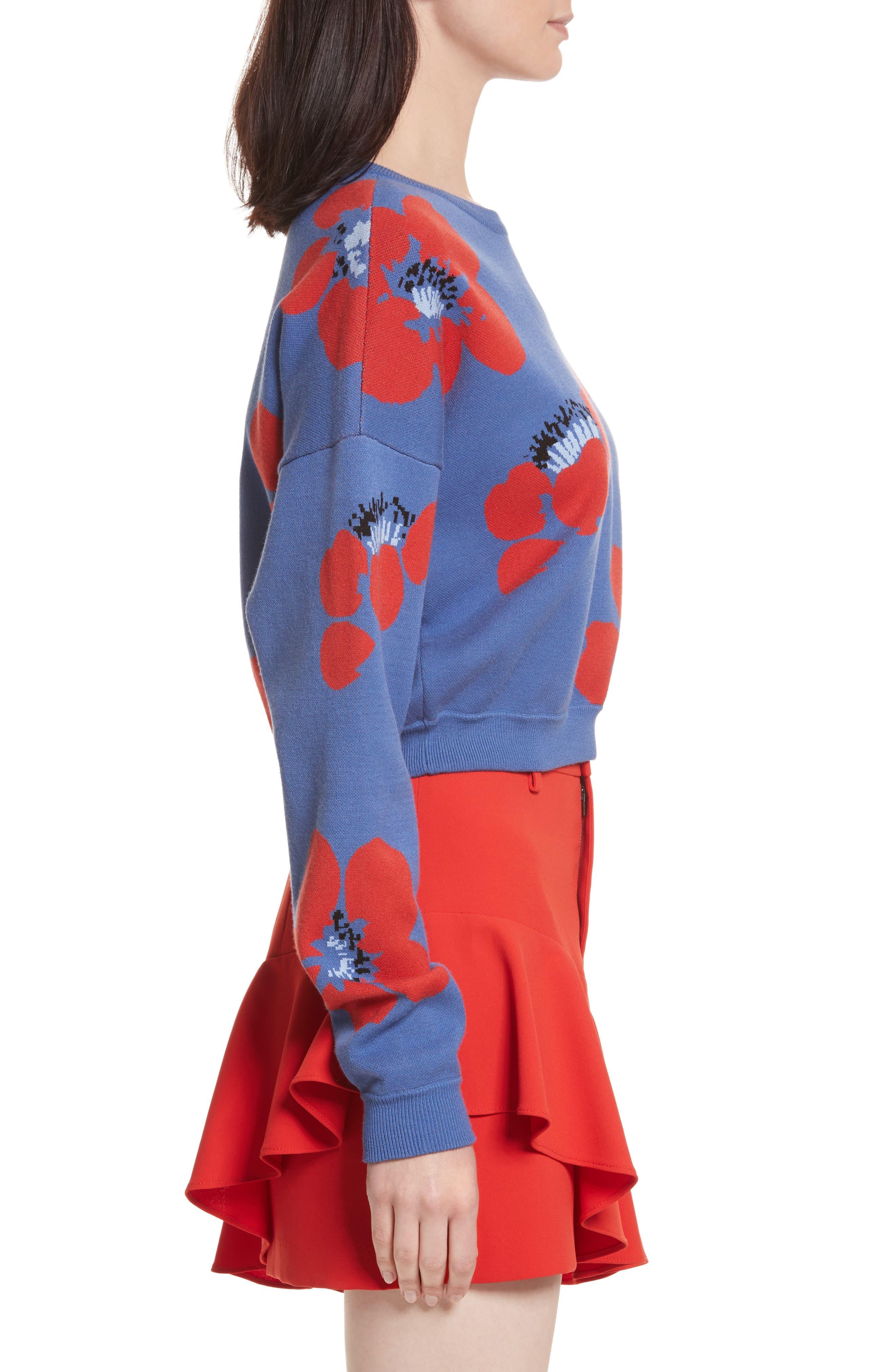 Leena Floral Crop Sweatshirt,                             Alternate thumbnail 3, color,                             Blue Quartz Multi