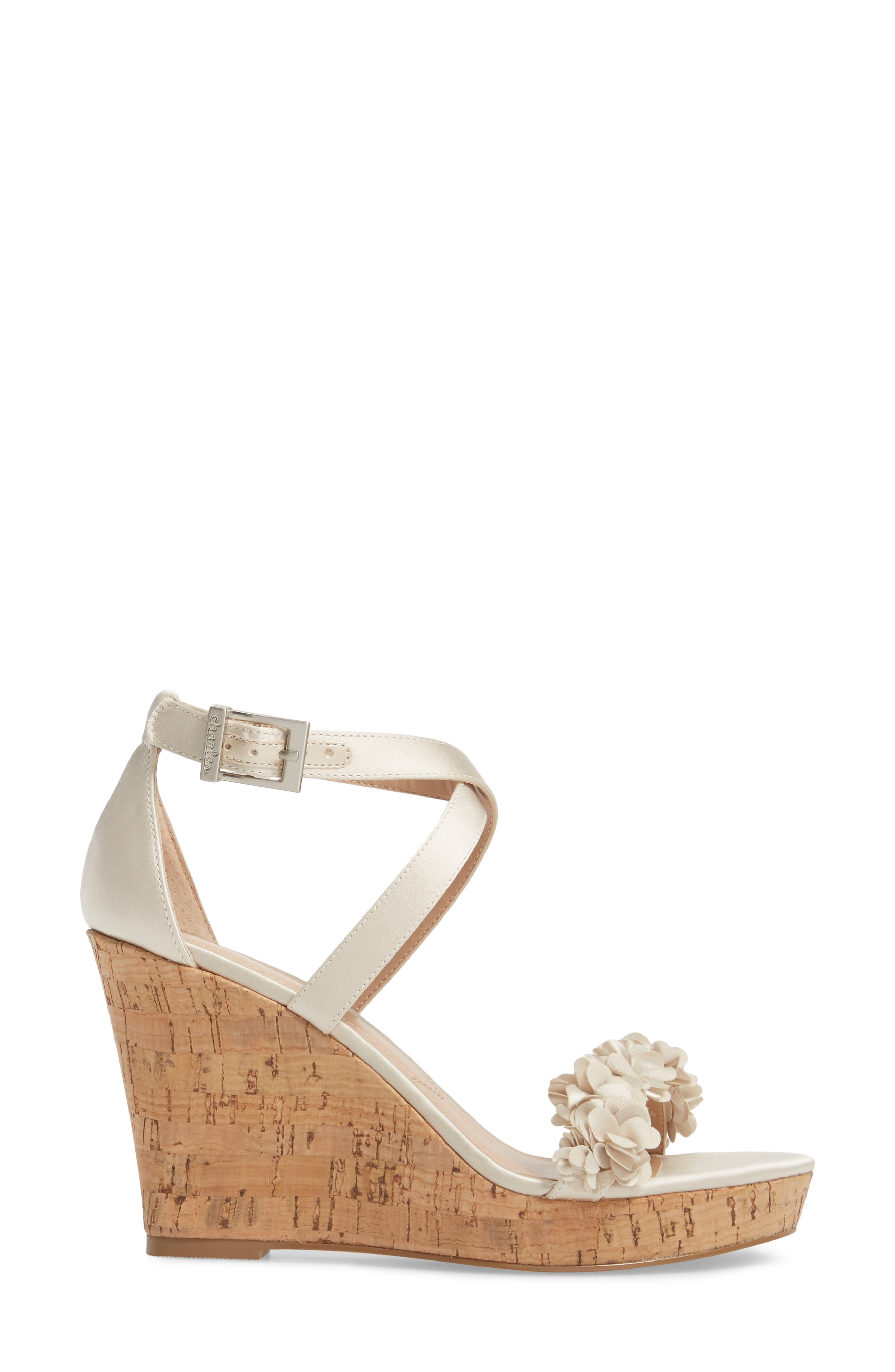 Lauryn Wedge Sandal,                             Alternate thumbnail 3, color,                             Ivory Satin