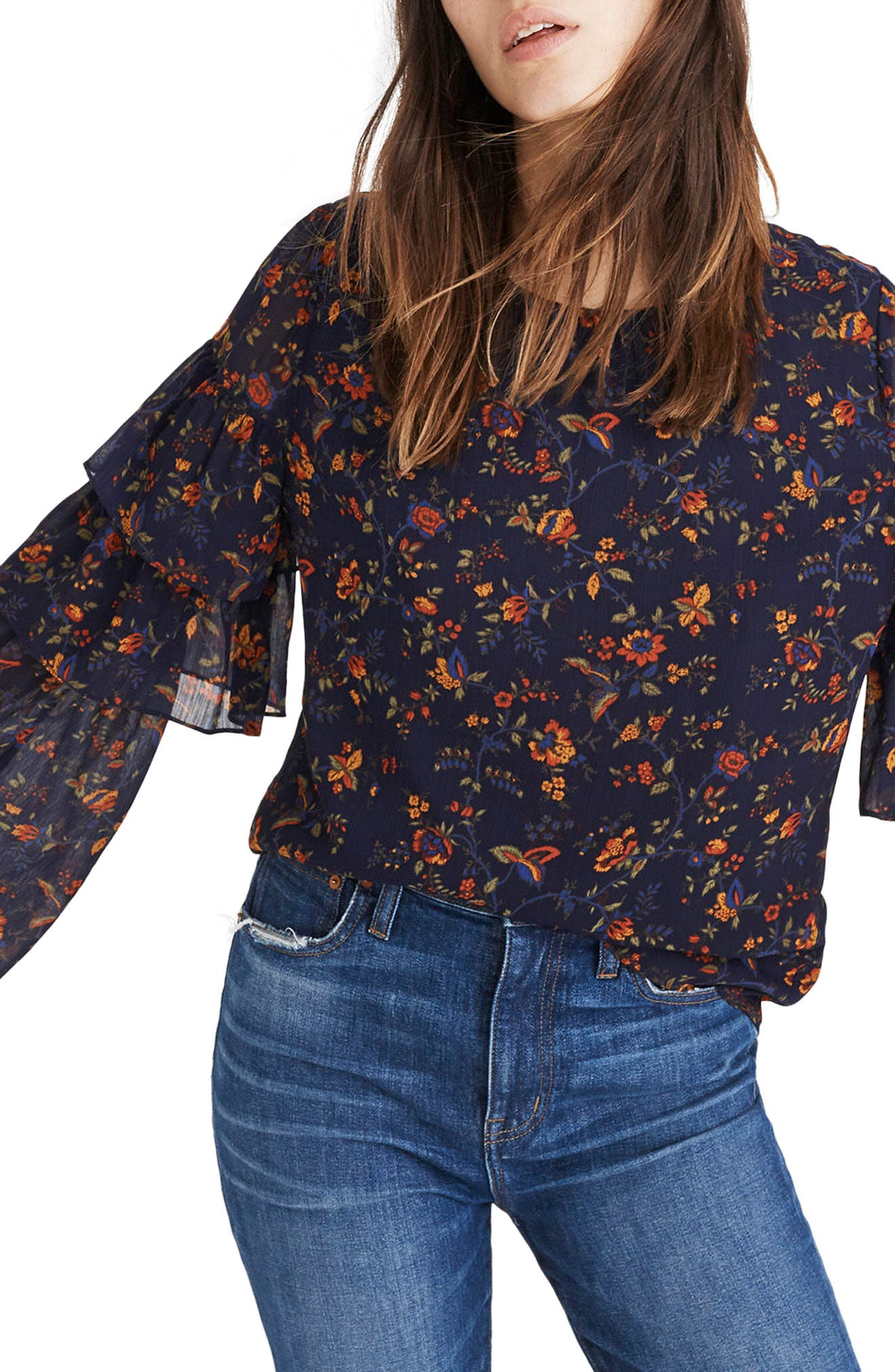 Ruffle Sleeve Top,                             Main thumbnail 1, color,                             Oriental Floral Midnight