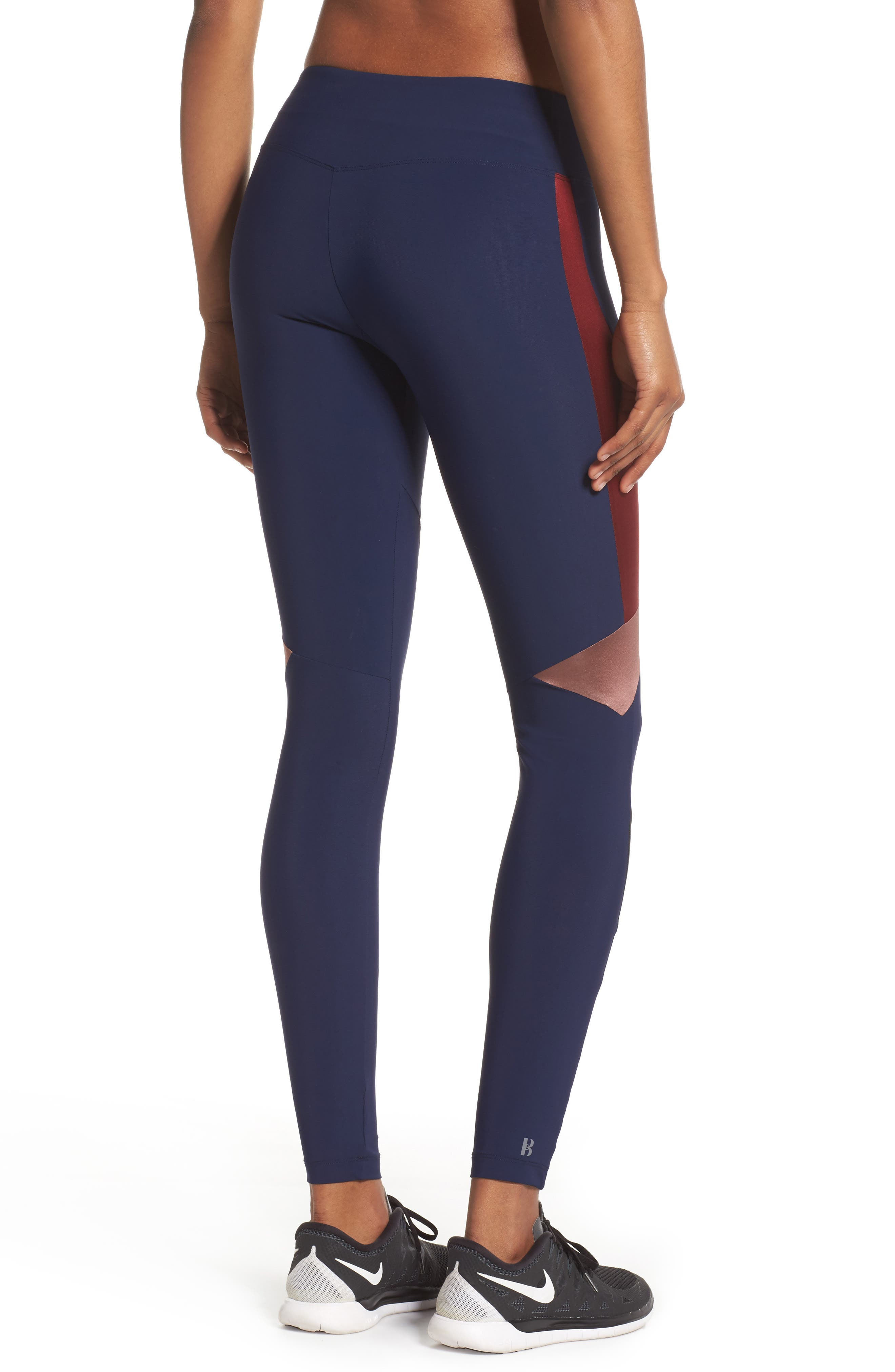 BoomBoom Athletica Compression Leggings,                             Alternate thumbnail 2, color,                             Navy/Oxblood/Rose Gold