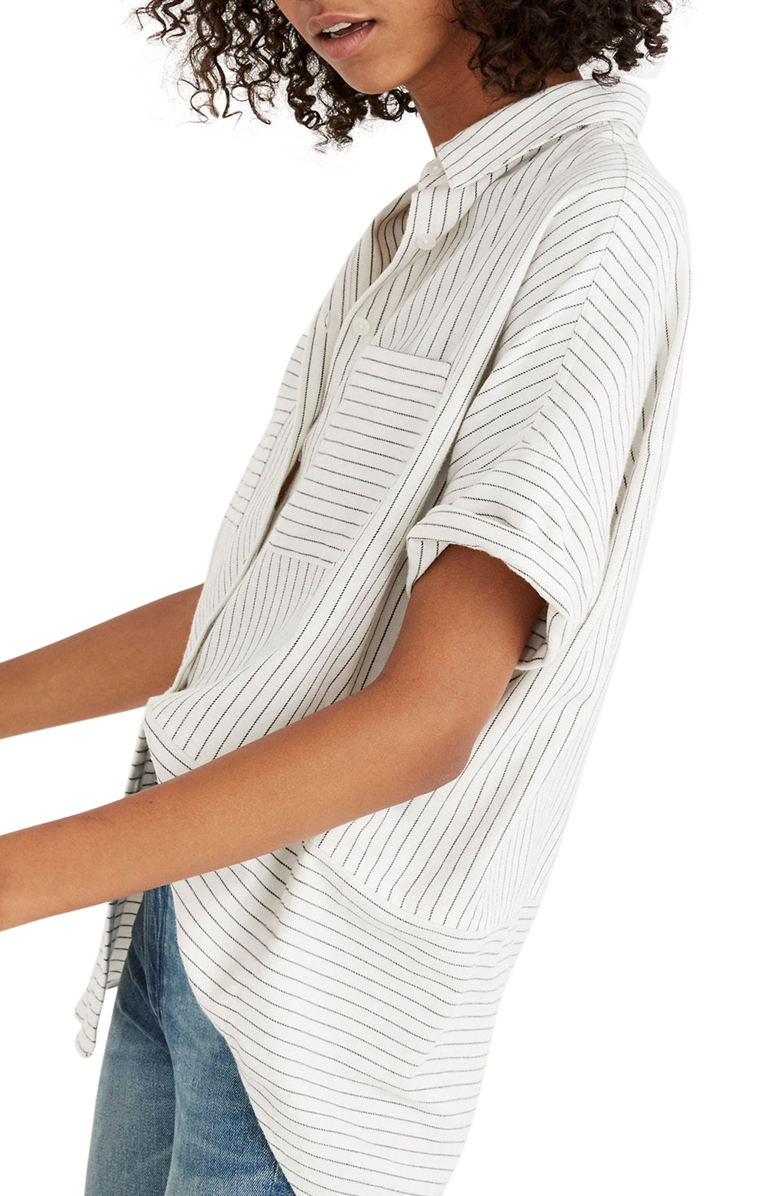 Flannel Courier Shirt,                             Alternate thumbnail 3, color,                             Bright Ivory Jones Stripe