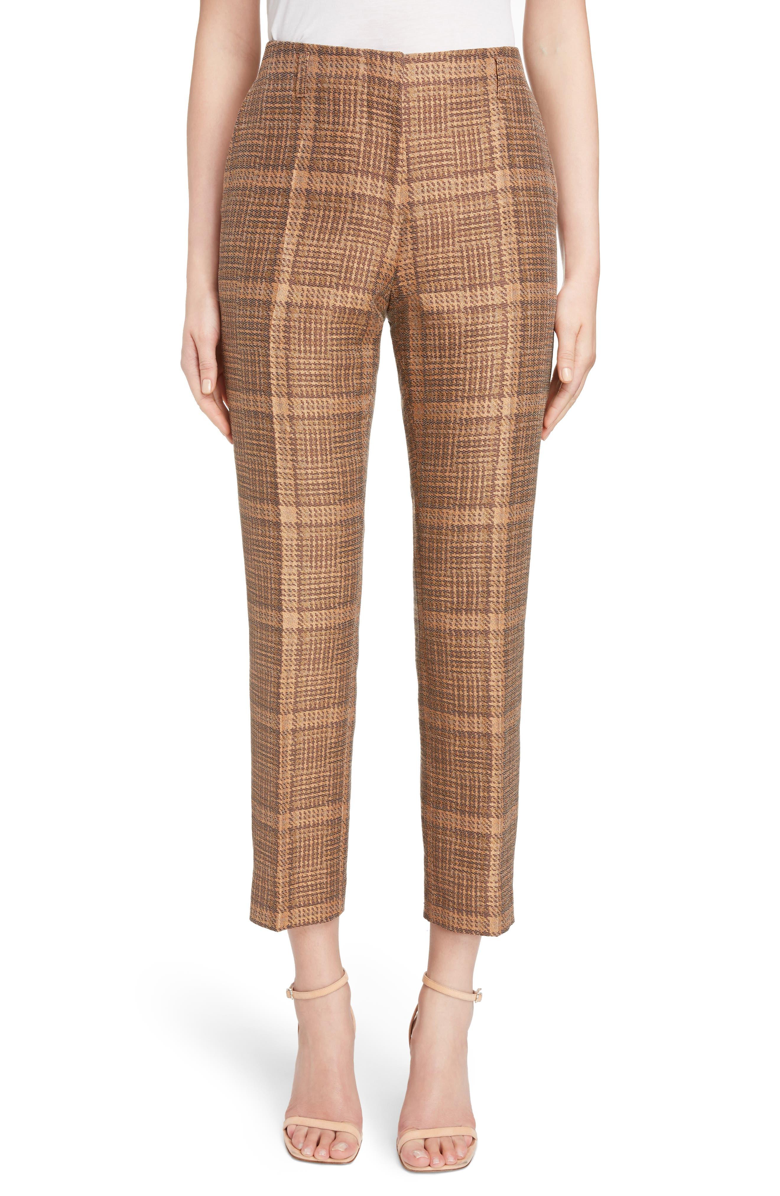 Tartan Slim Crop Pants,                             Main thumbnail 1, color,                             Rust