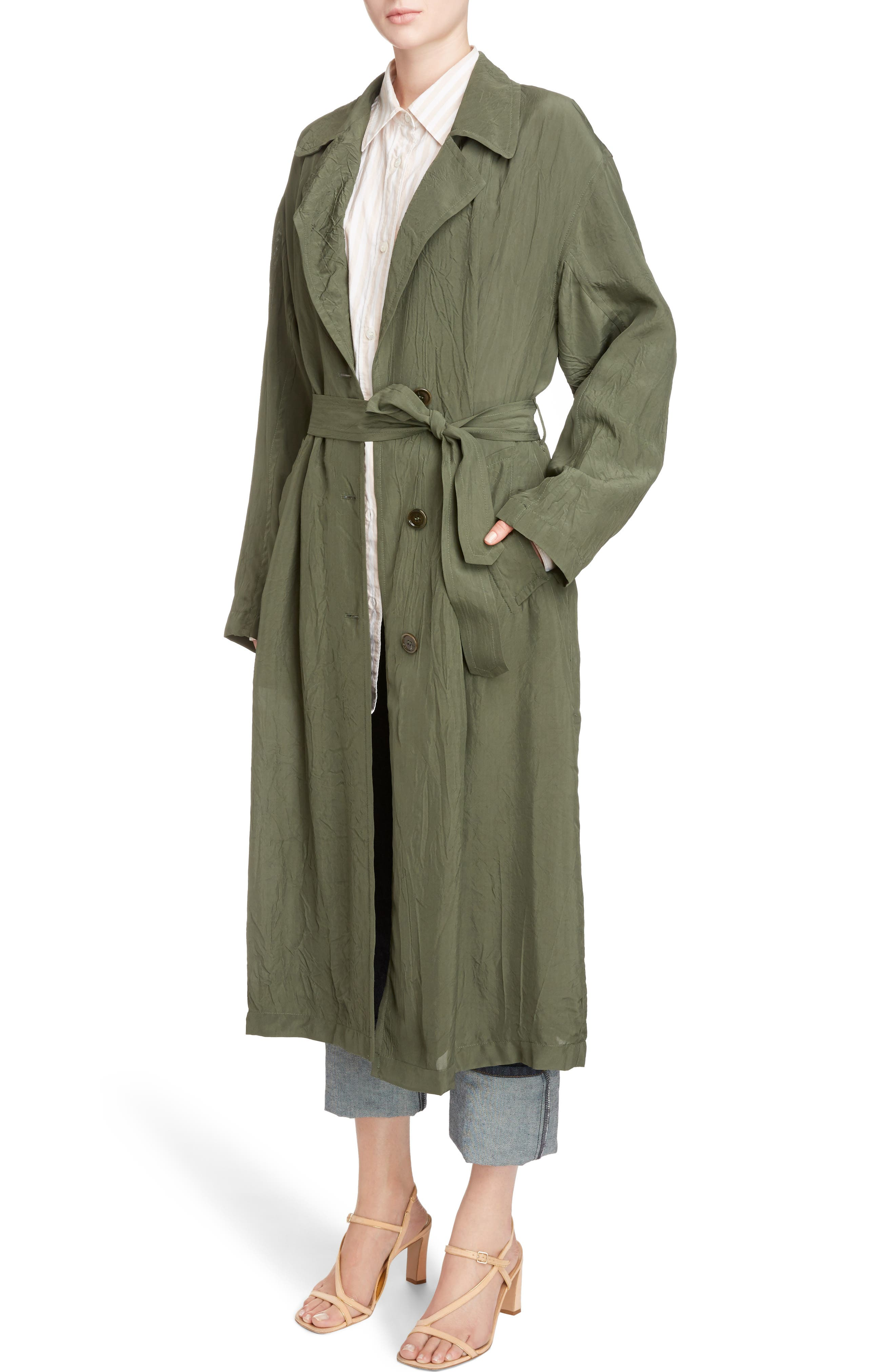 Crinkled Trench Coat,                             Alternate thumbnail 4, color,                             Green