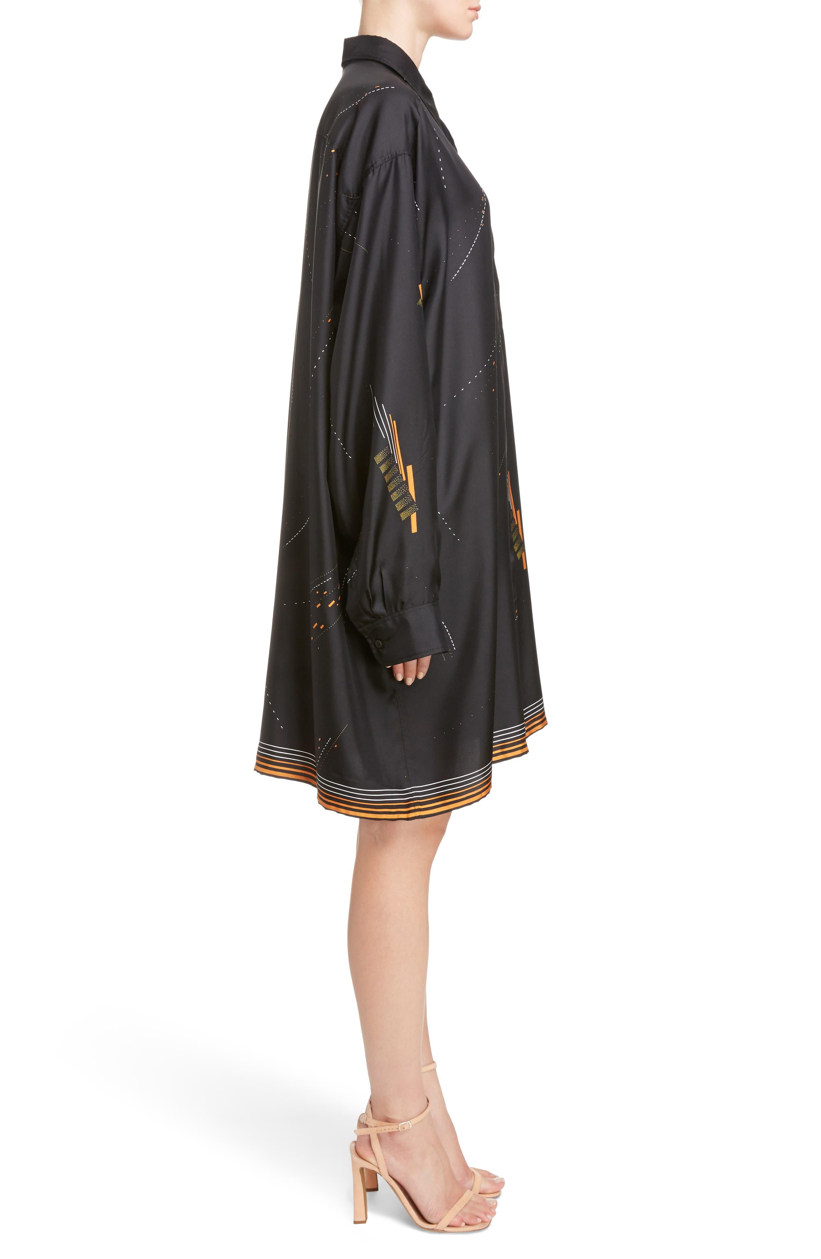 Print Silk Shirtdress,                             Alternate thumbnail 3, color,                             Black