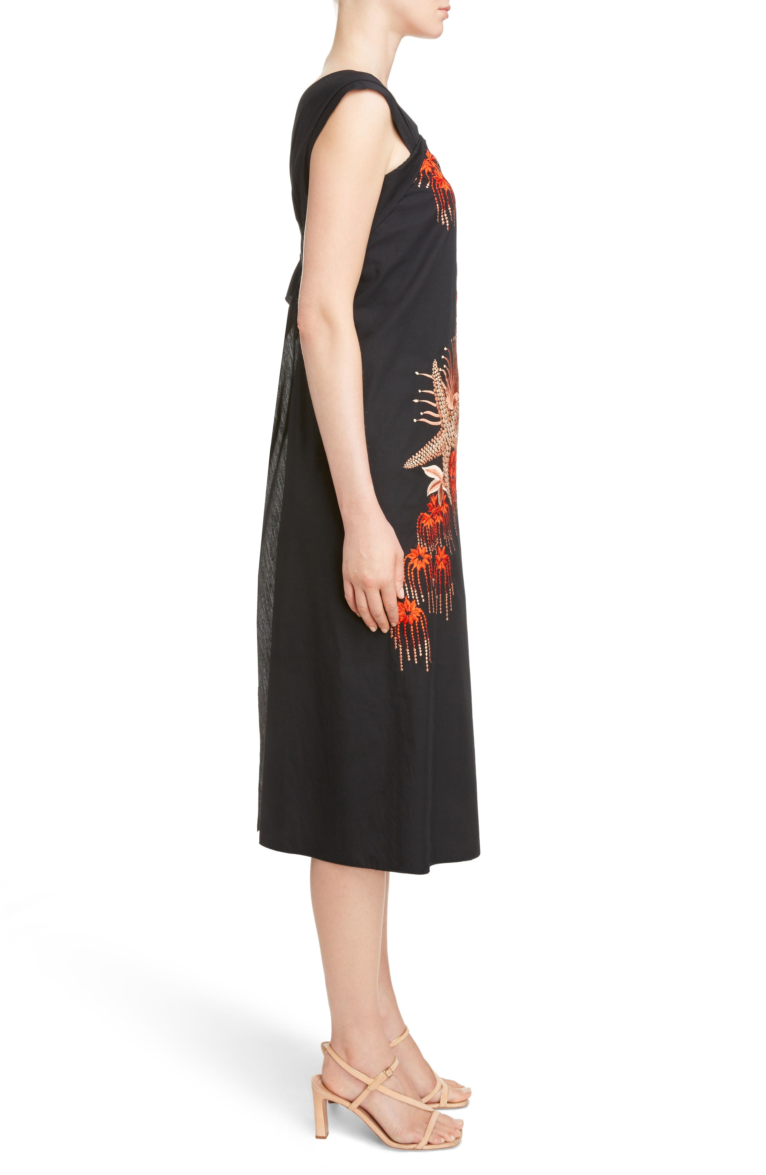 Embroidered Starfish Print Dress,                             Alternate thumbnail 3, color,                             Black
