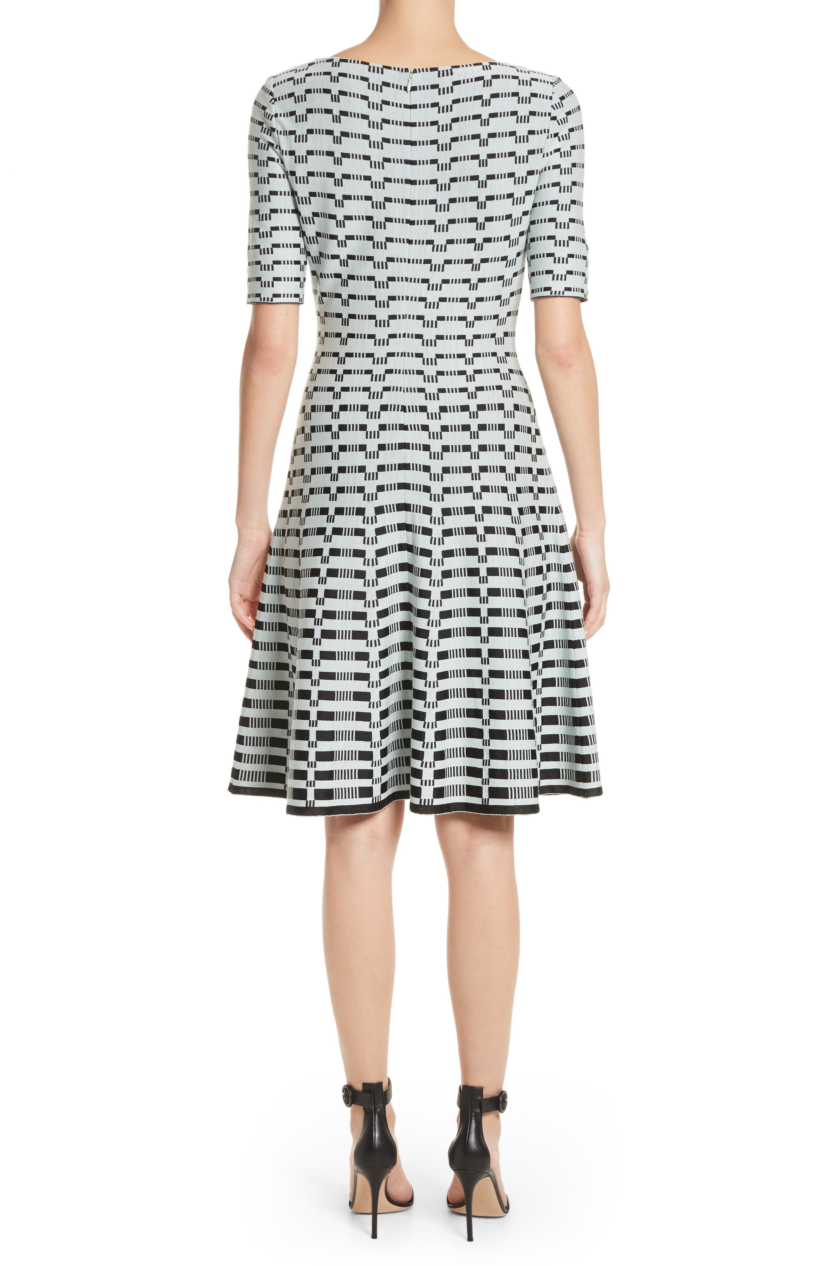Grid Knit Fit & Flare Dress,                             Alternate thumbnail 2, color,                             Mint/ Caviar