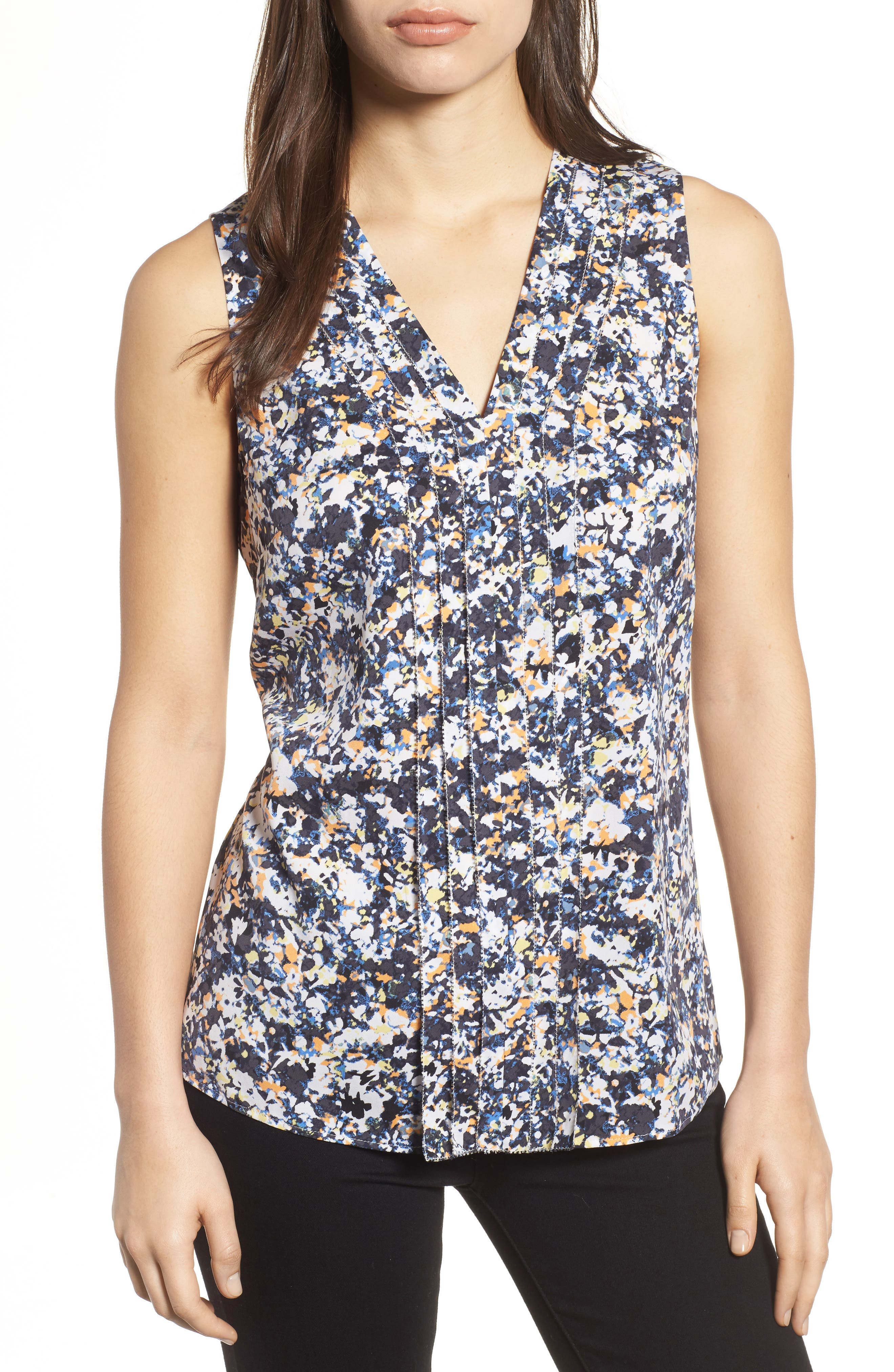 Picot Detail Silk Blend Blouse,                             Main thumbnail 1, color,                             Grey Multi Camo Floral