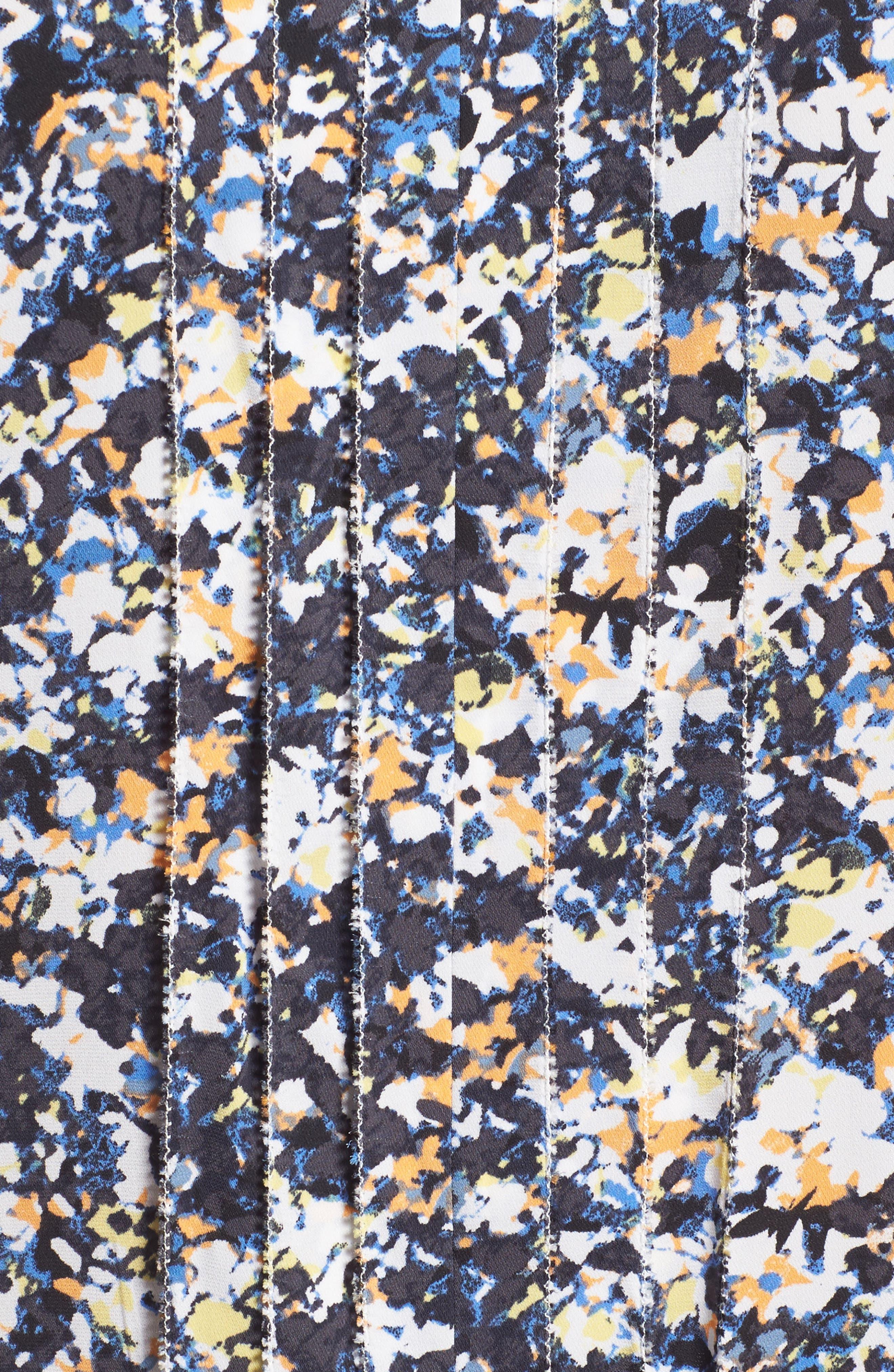 Picot Detail Silk Blend Blouse,                             Alternate thumbnail 5, color,                             Grey Multi Camo Floral
