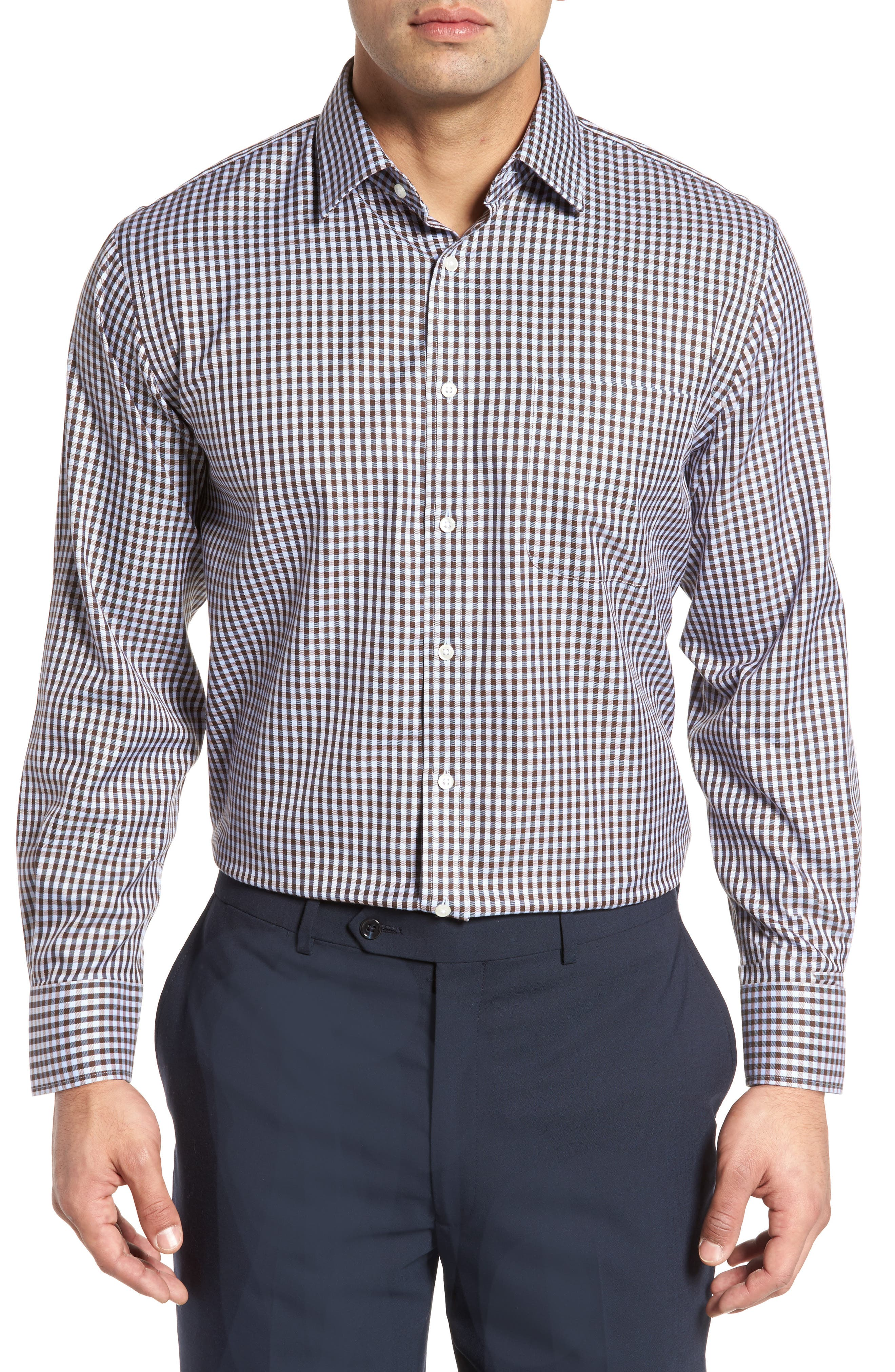 Smartcare<sup>™</sup> Traditional Fit Check Dress Shirt,                             Alternate thumbnail 2, color,                             Brown Terra