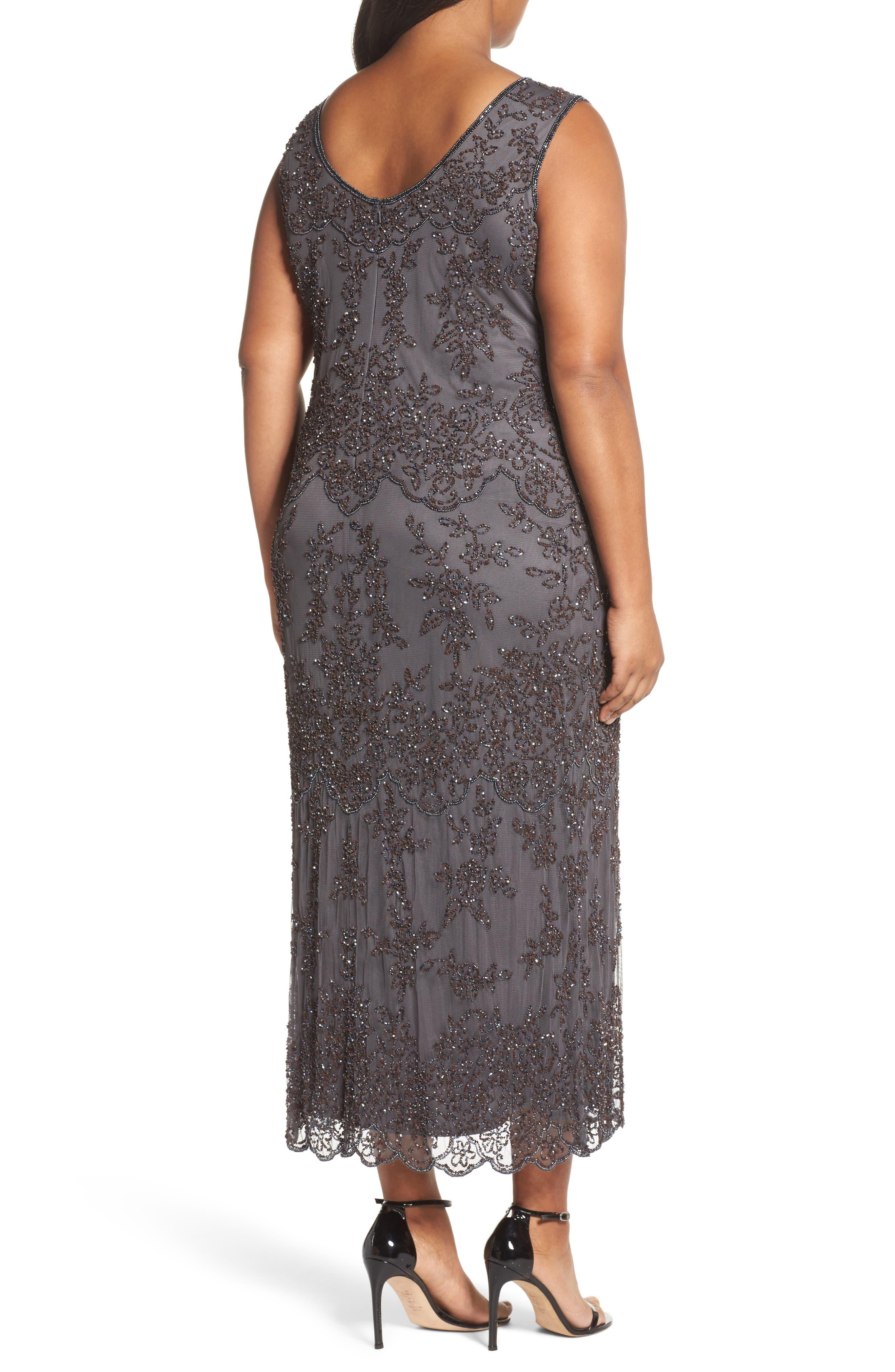 Alternate Image 2  - Pisarro Nights Embellished Bateau Neck Long Dress (Plus Size)