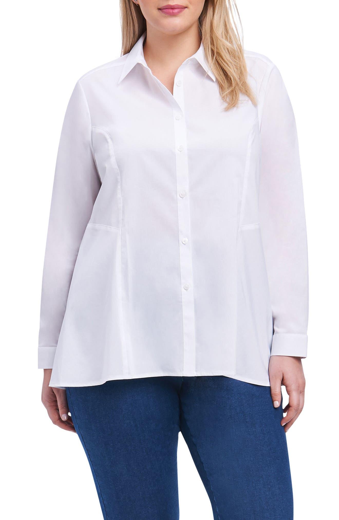 Portia Stretch Button Down Shirt,                             Main thumbnail 1, color,                             White