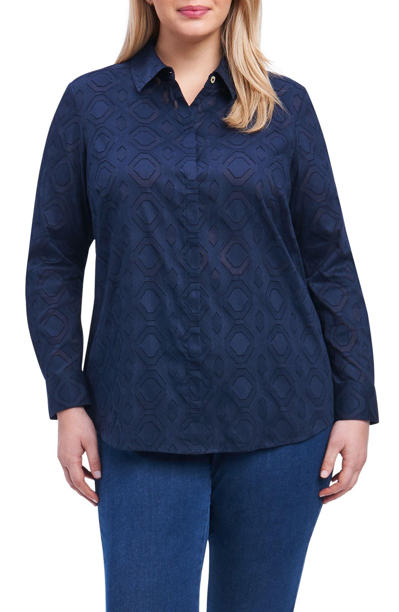 Foxcroft Ava Diamond Clip Jacquard Shirt (Plus Size)