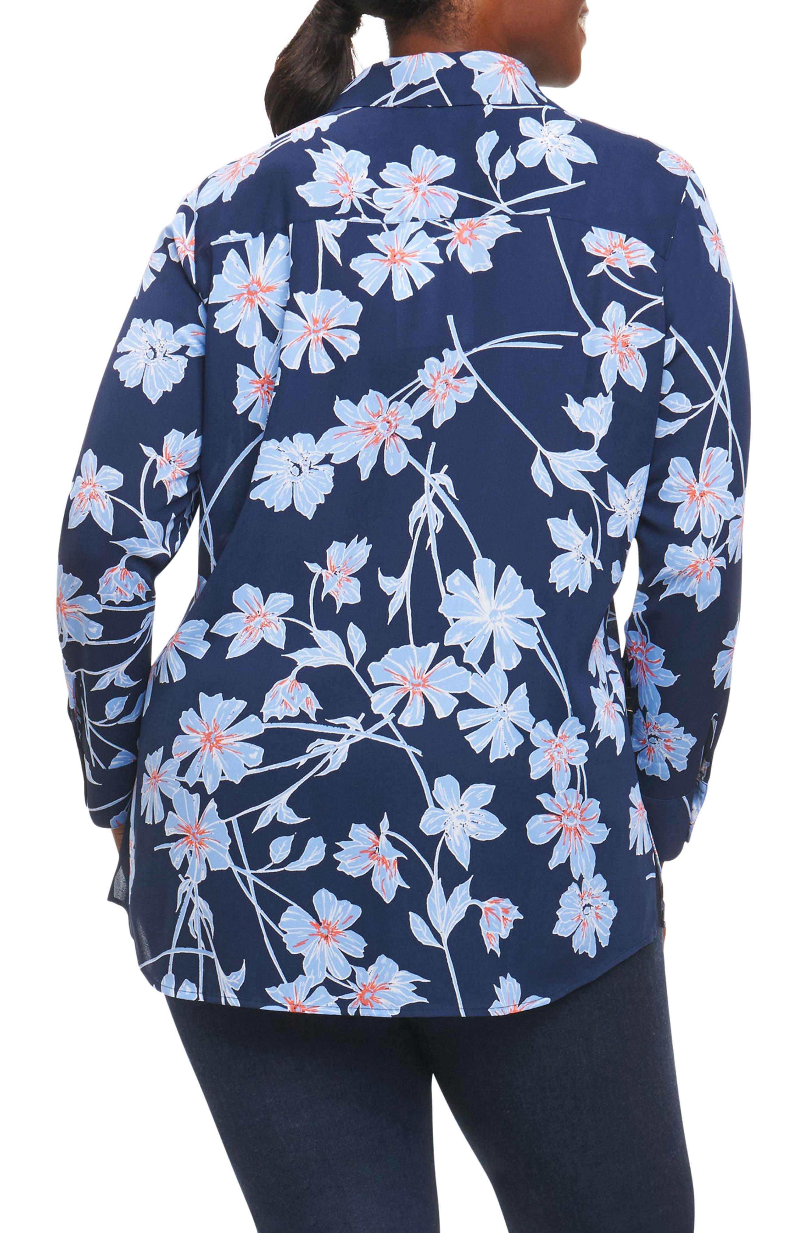 Alternate Image 2  - Foxcroft Ivy Coastal Floral Shirt (Plus Size)