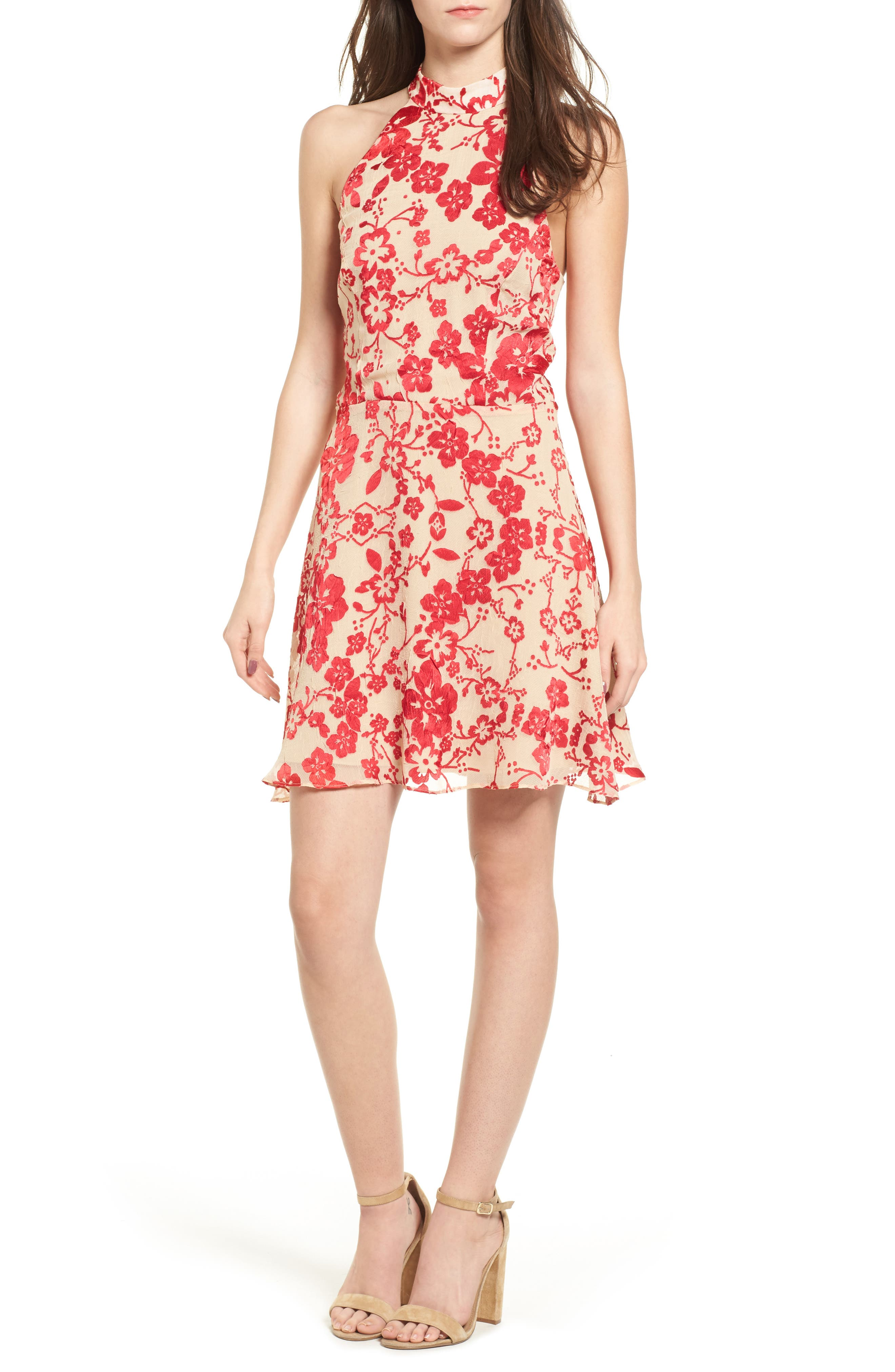 Maryanne Fit & Flare Dress,                             Main thumbnail 1, color,                             Ruby Punch