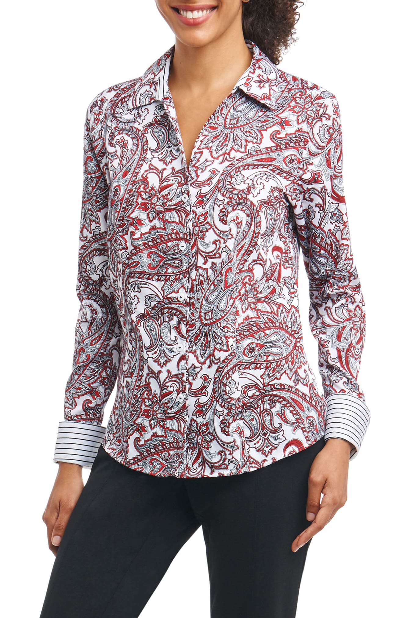 Lauren Romantic Paisley Shirt,                             Main thumbnail 1, color,                             Multi