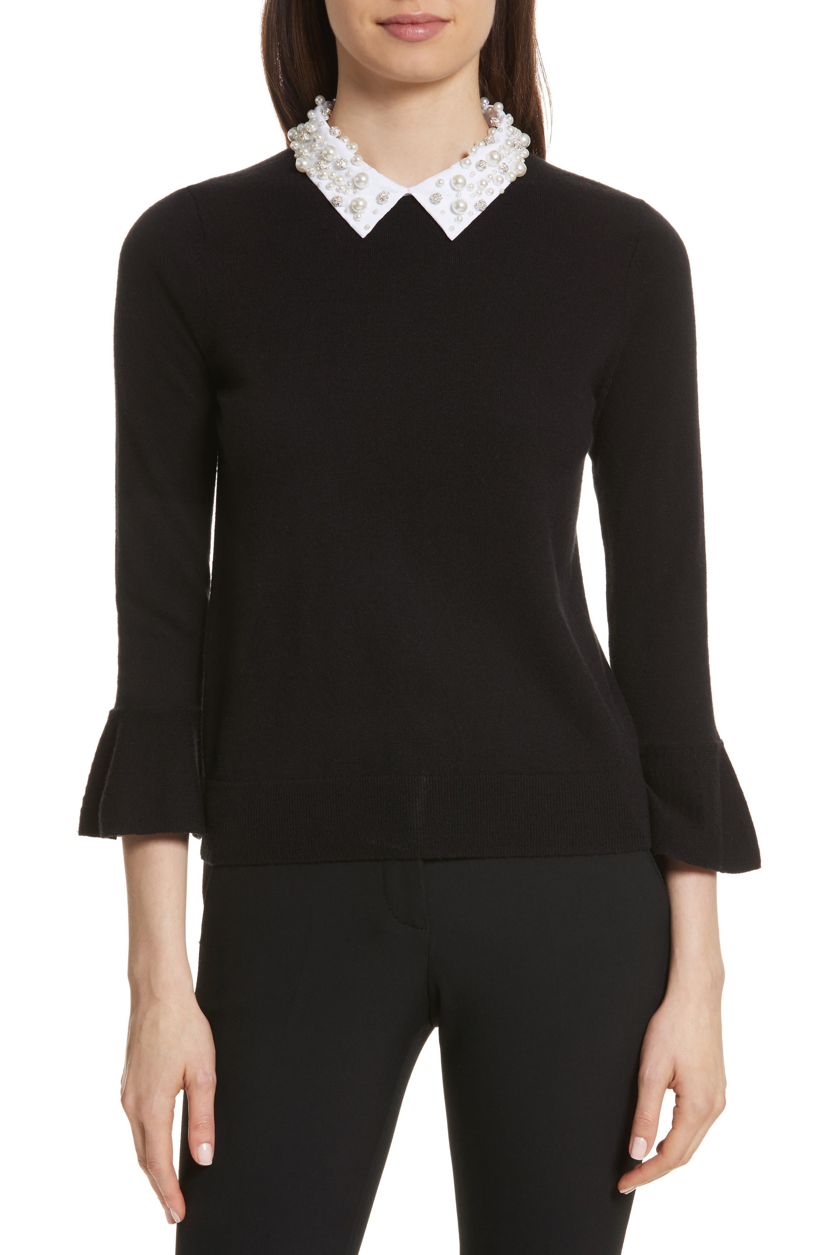 embellished collar sweater,                         Main,                         color, Black