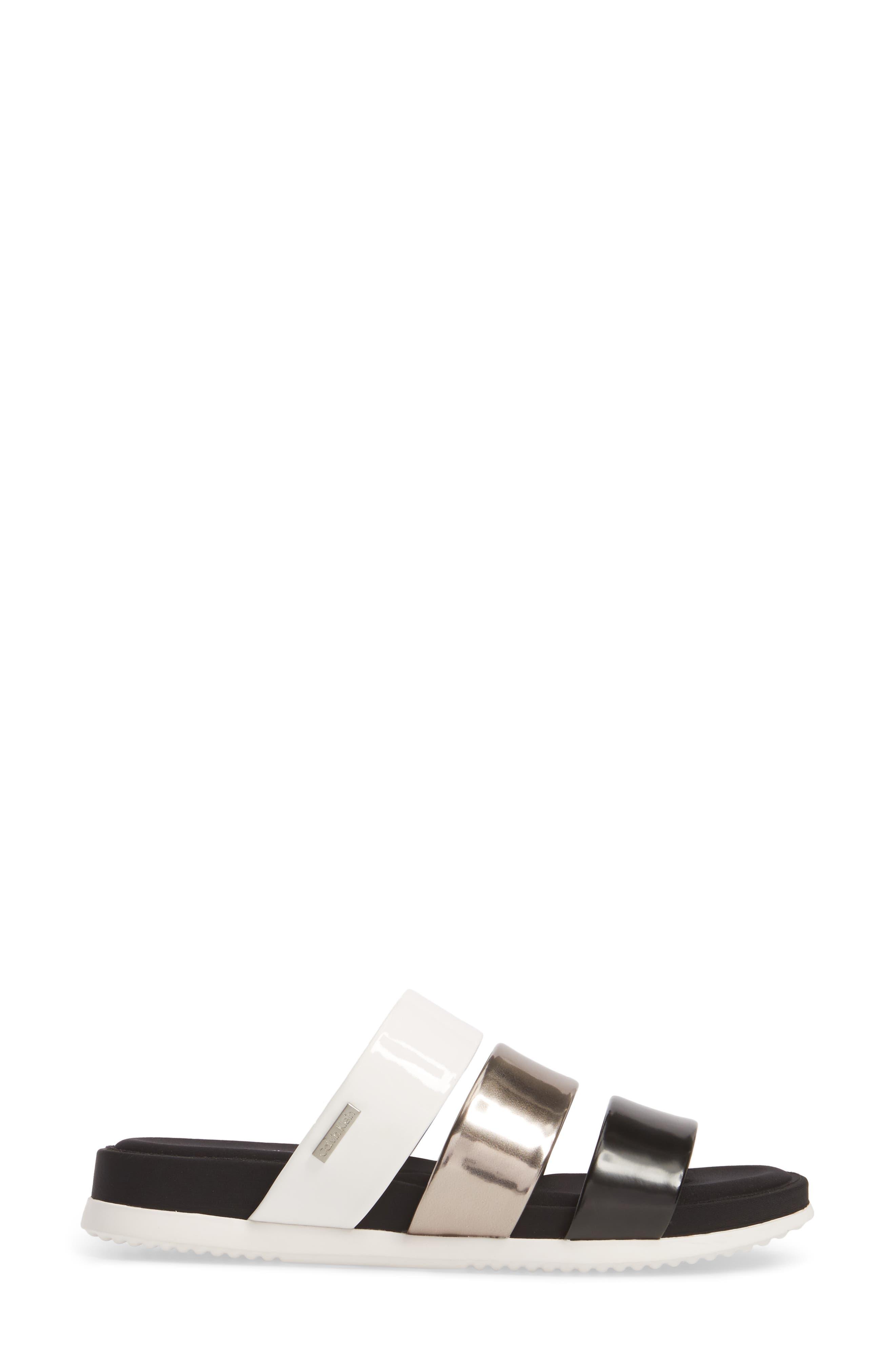 Dalana Slide Sandal,                             Alternate thumbnail 3, color,                             Black/ Pewter Faux Leather
