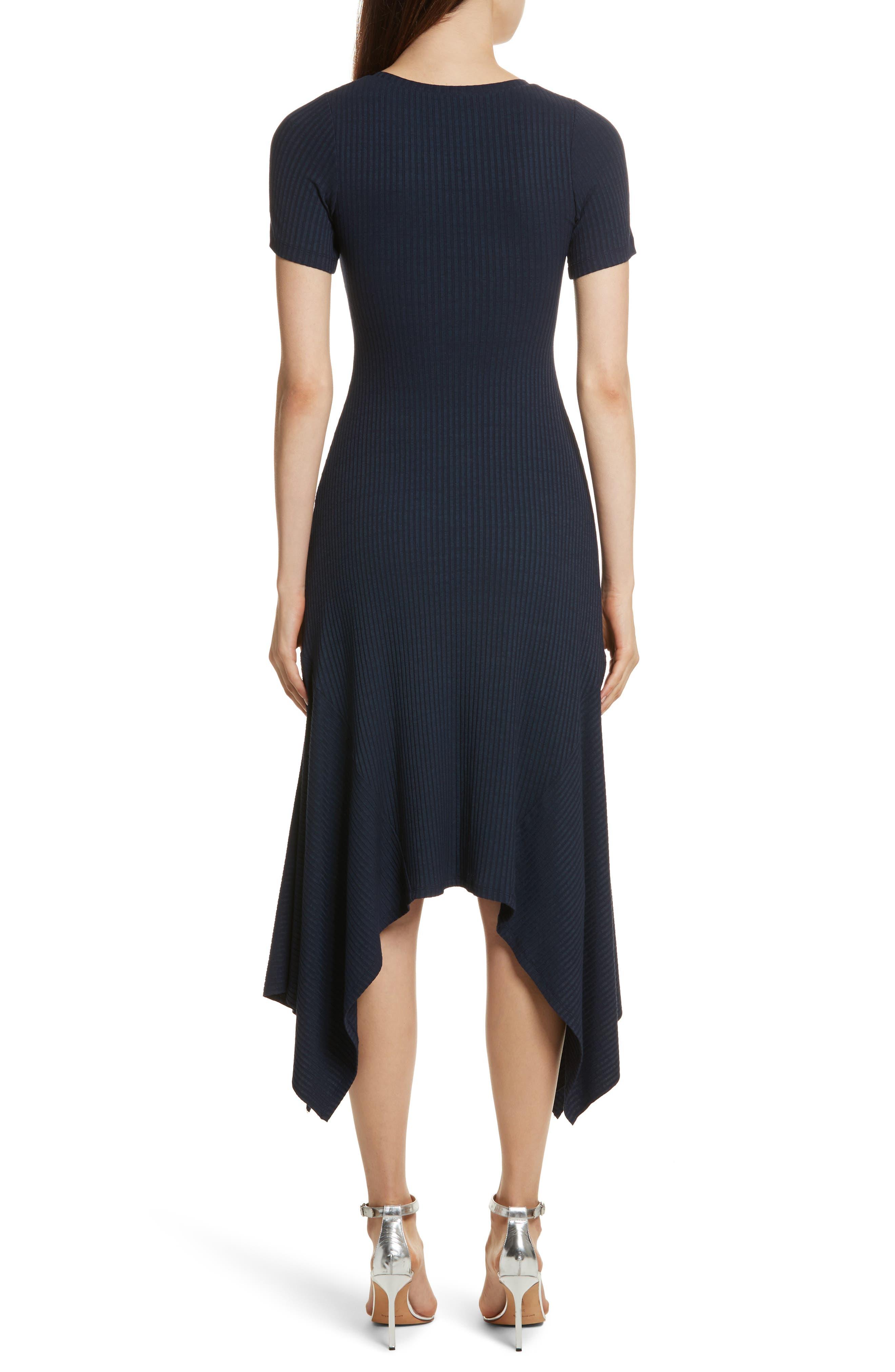 Knotted Rib Knit Midi Dress,                             Alternate thumbnail 3, color,                             Navy
