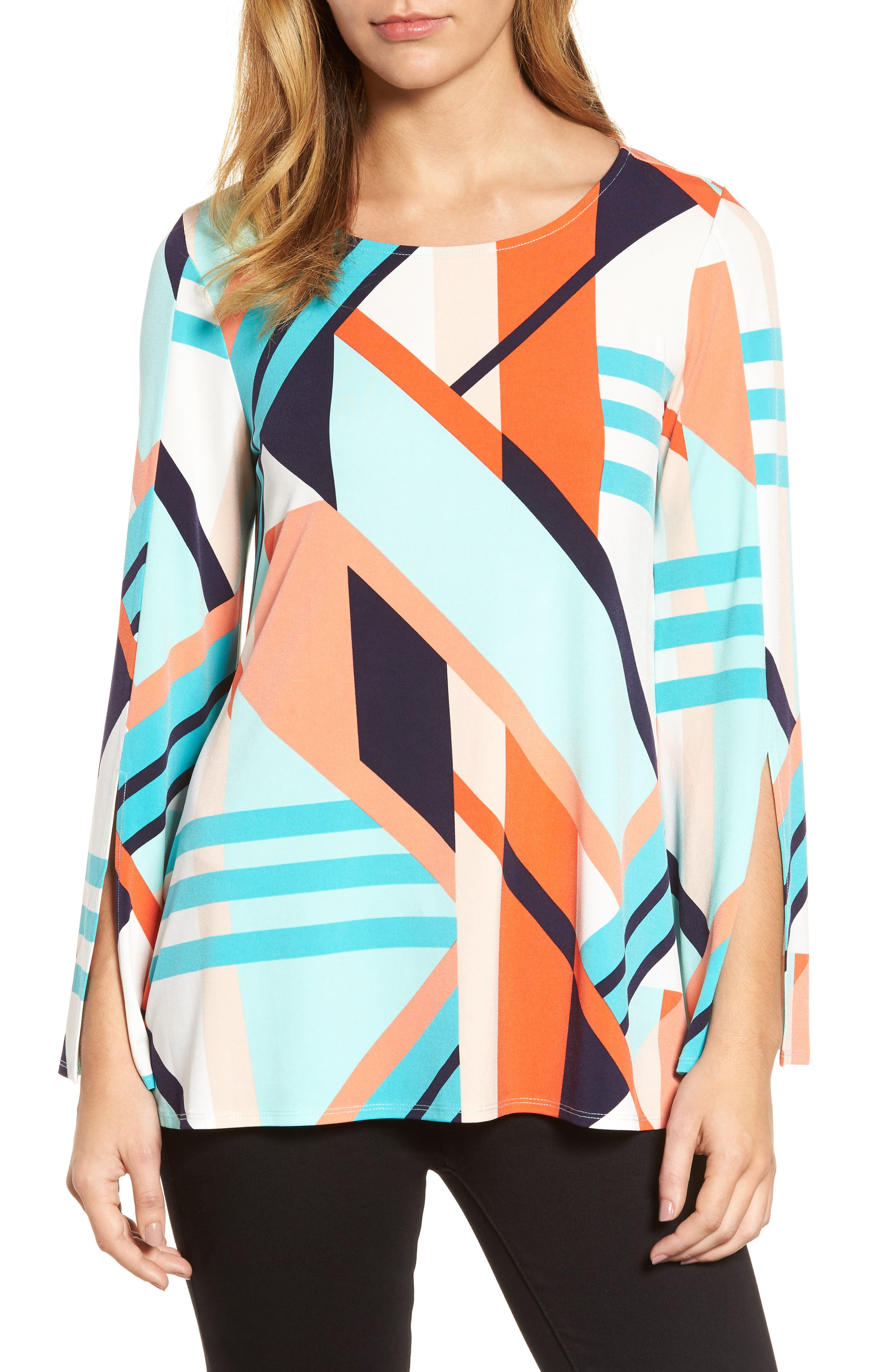 Geo Print Split Sleeve Knit Top,                         Main,                         color, Coral Blaze