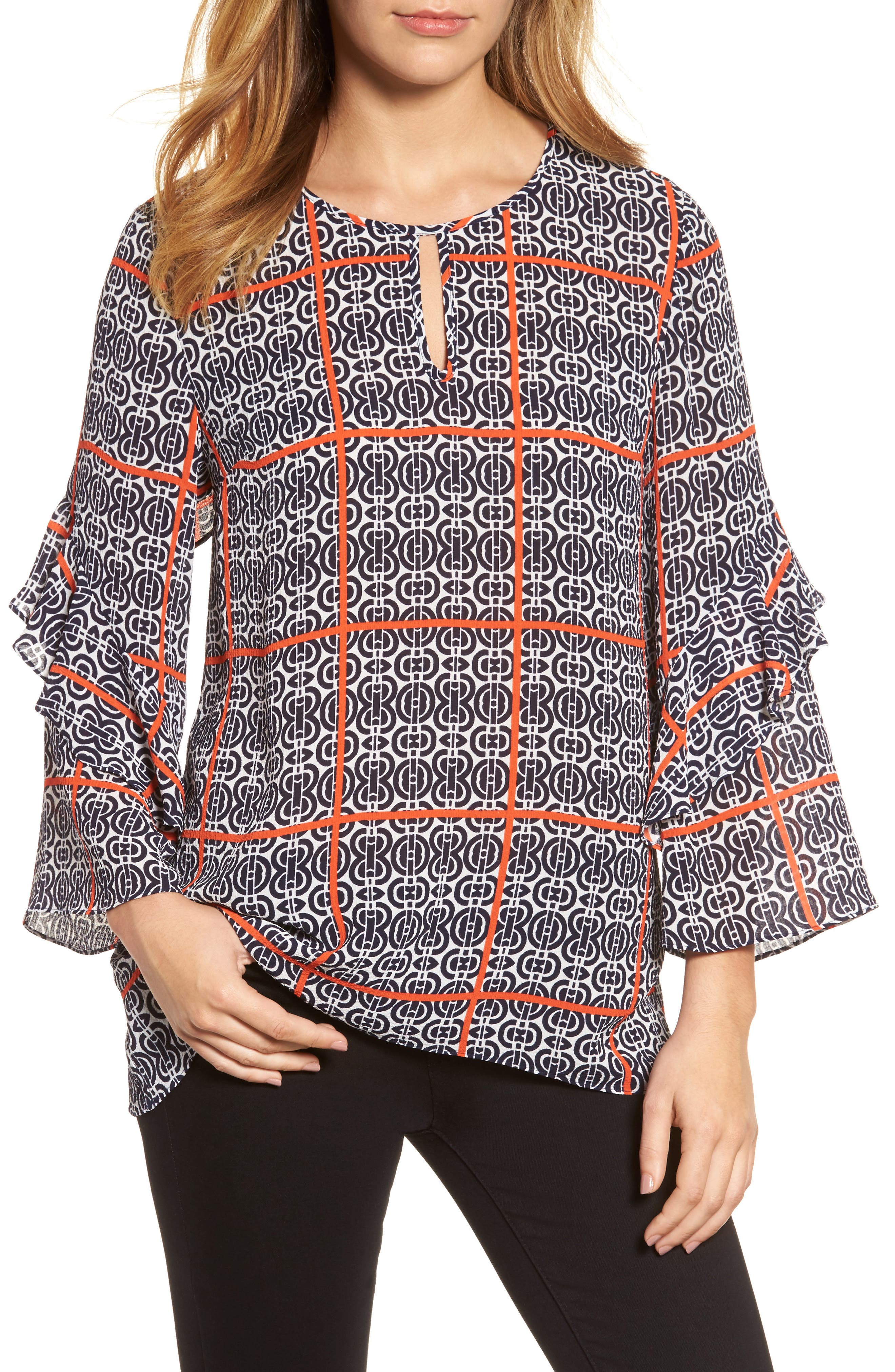 Printed Ruffle Sleeve Blouse,                         Main,                         color, New Ivory