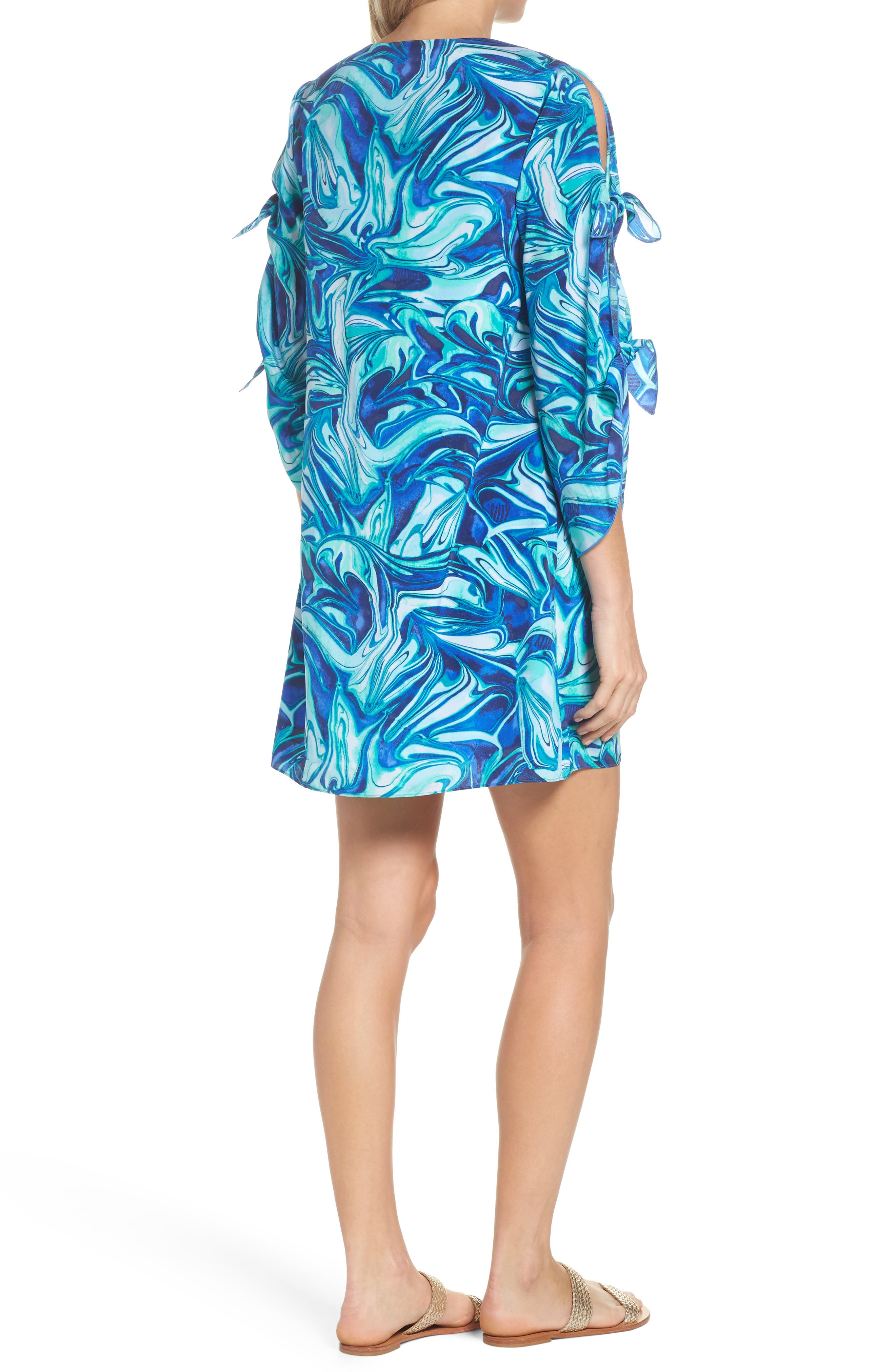 Avila Shift Dress,                             Alternate thumbnail 2, color,                             Ikat Blue Ocean Waves