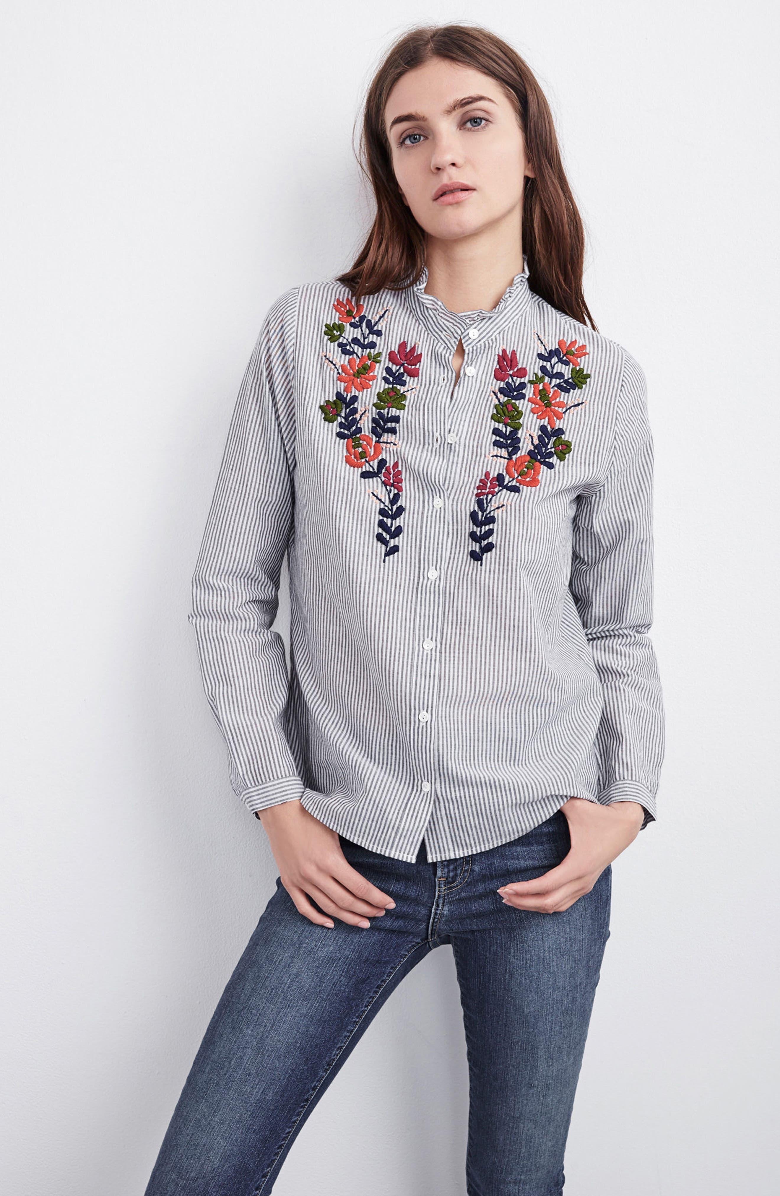 Alternate Image 7  - Velvet Embroidered Stripe Shirt