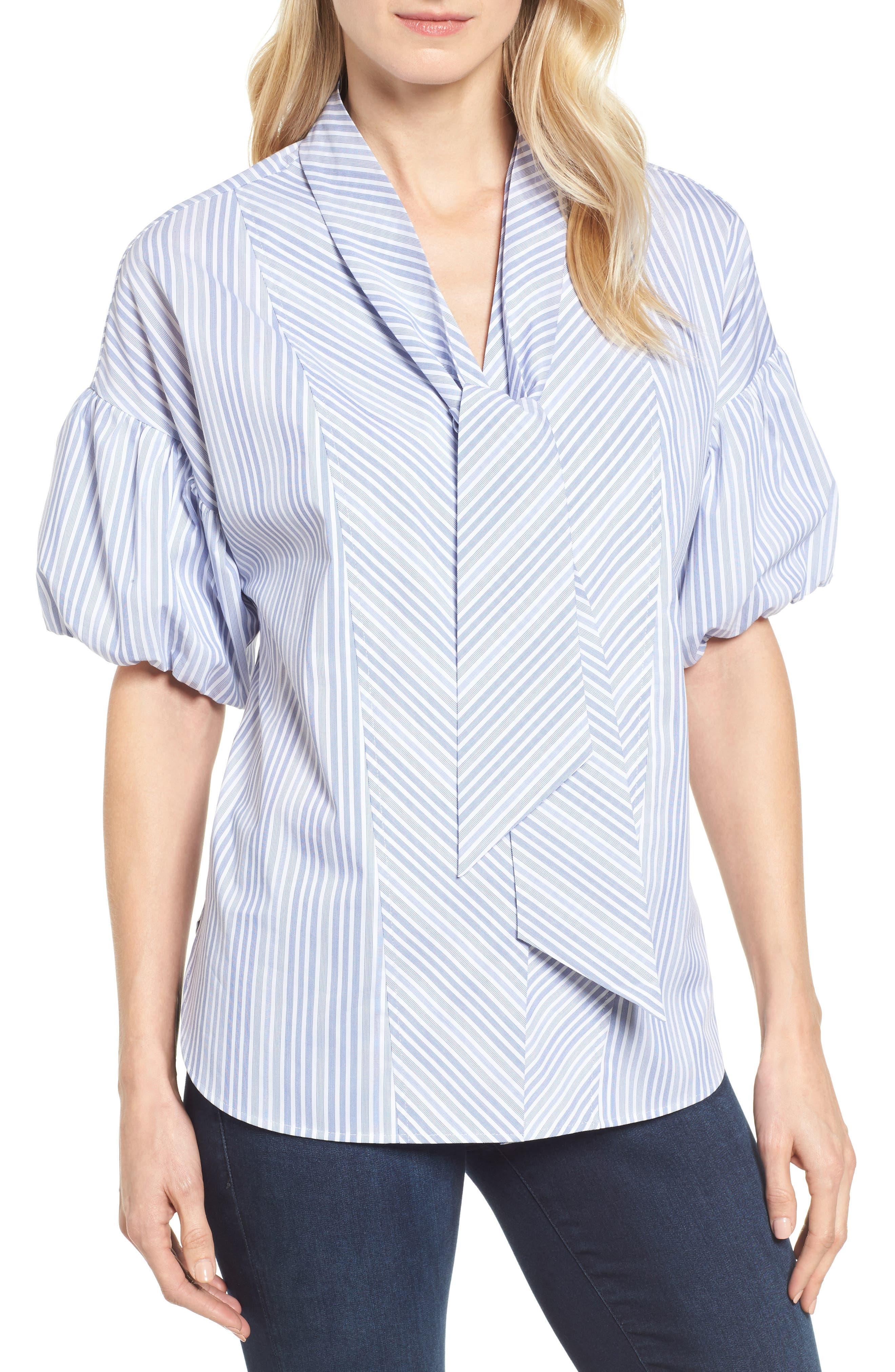 Tie Front Short Sleeve Blouse,                             Main thumbnail 1, color,                             Blue- White Stripe