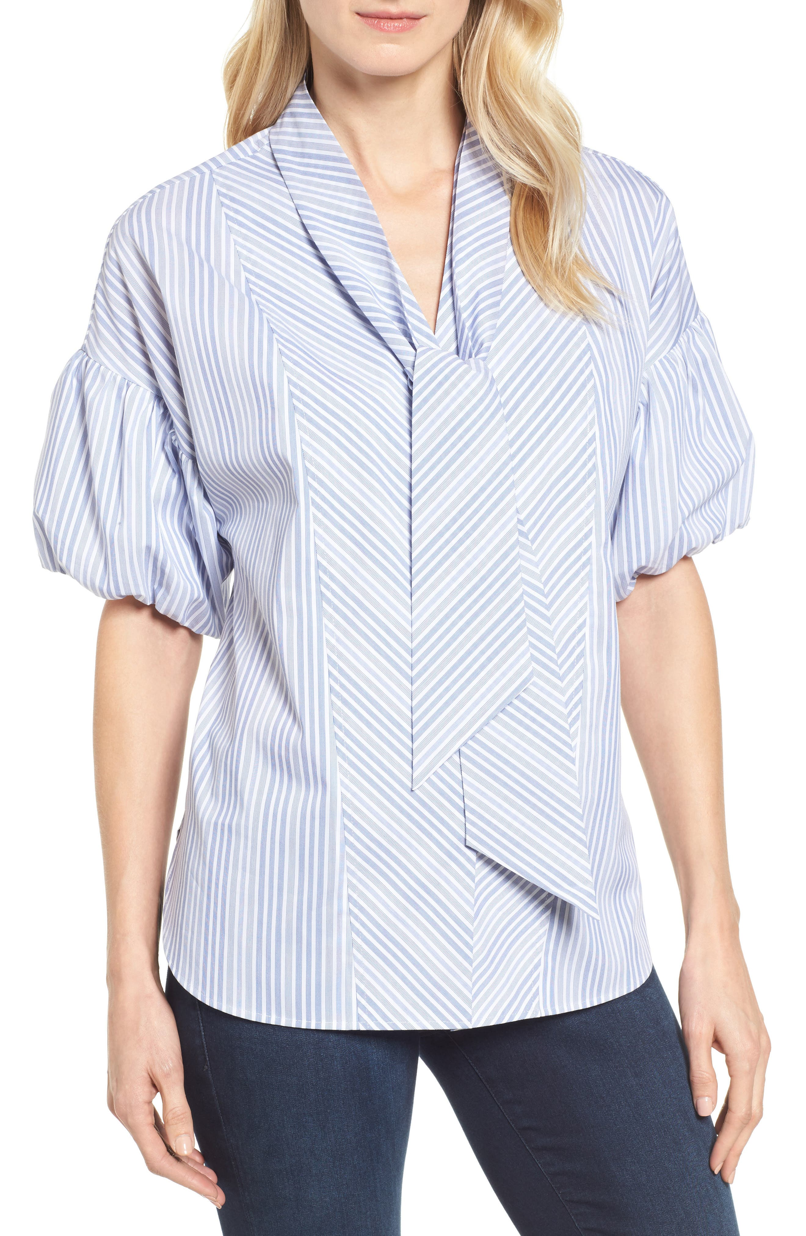 Halogen® Tie Front Short Sleeve Blouse (Regular & Petite)