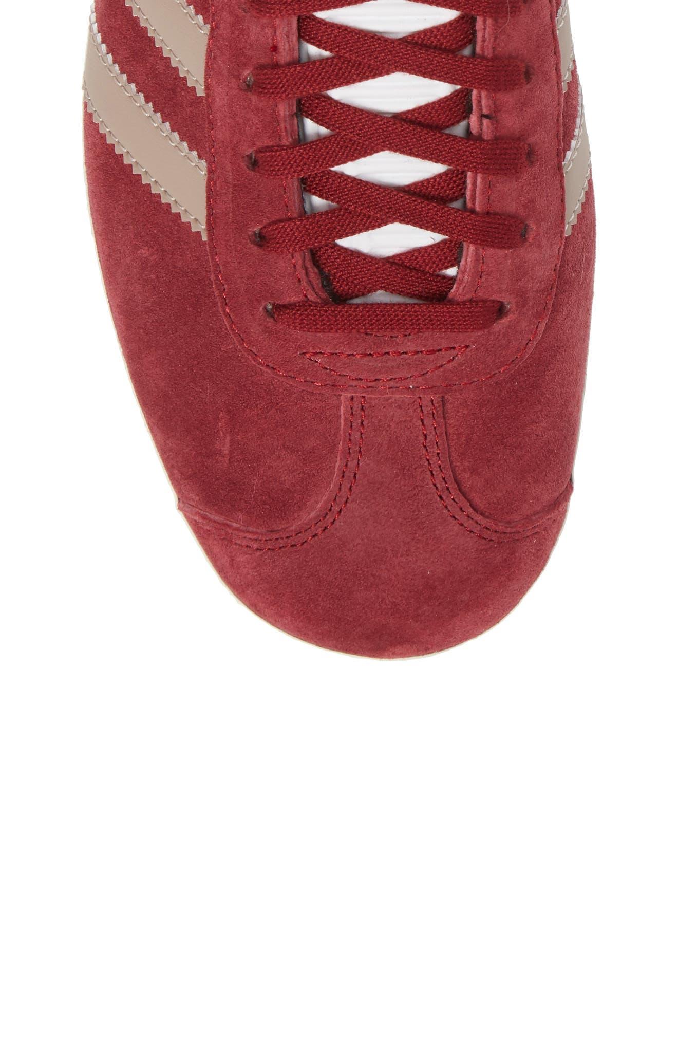 Gazelle Sneaker,                             Alternate thumbnail 5, color,                             Burgundy/ Vapour Grey/ White
