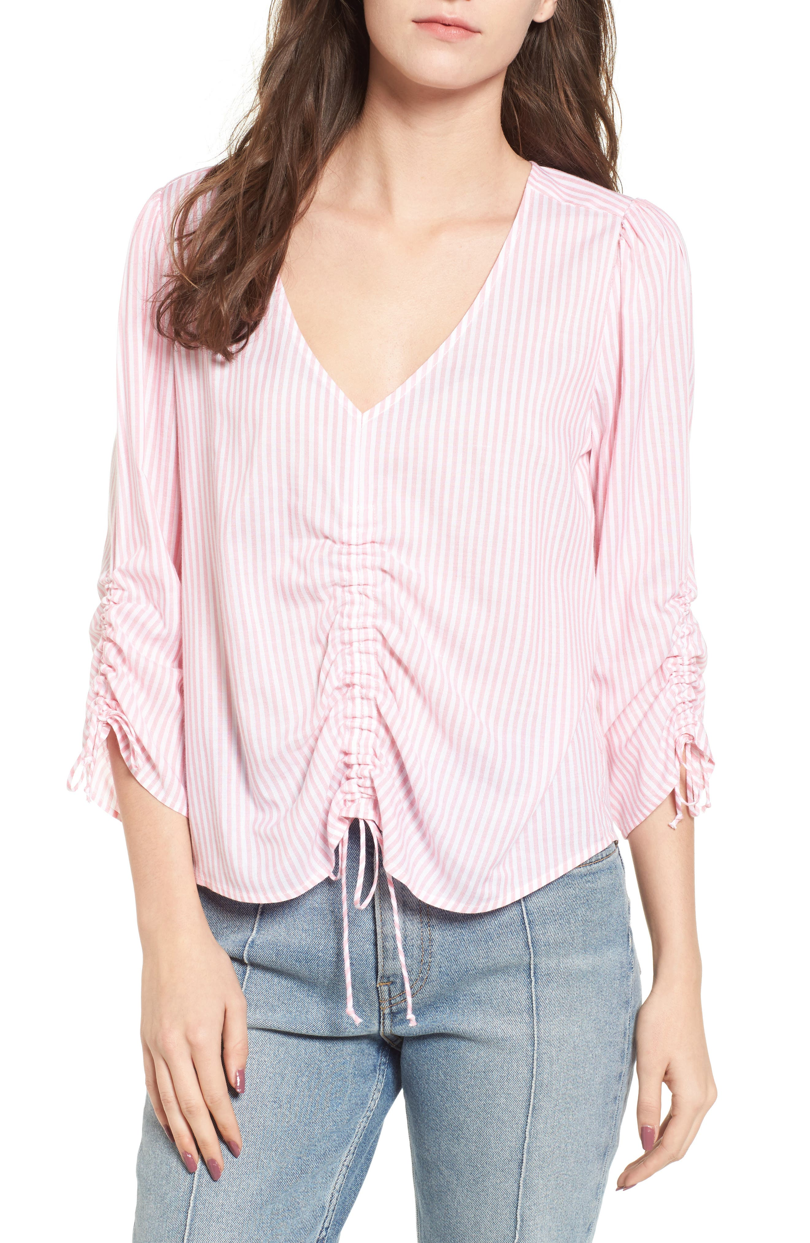 Stripe Cinched Front Top,                             Main thumbnail 1, color,                             Pink Stripe