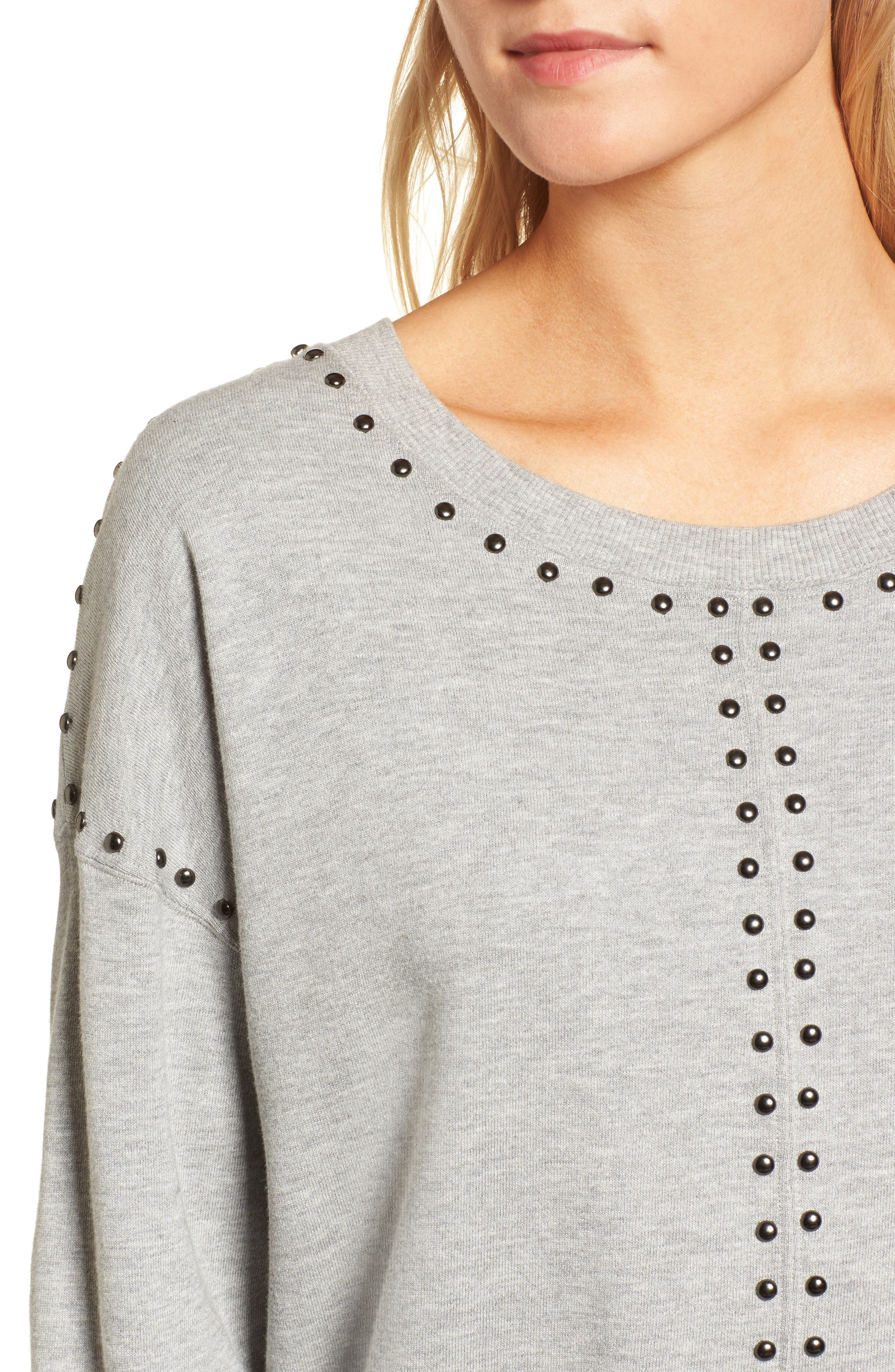 Wilson Studded Sweatshirt,                             Alternate thumbnail 4, color,                             Heather Grey