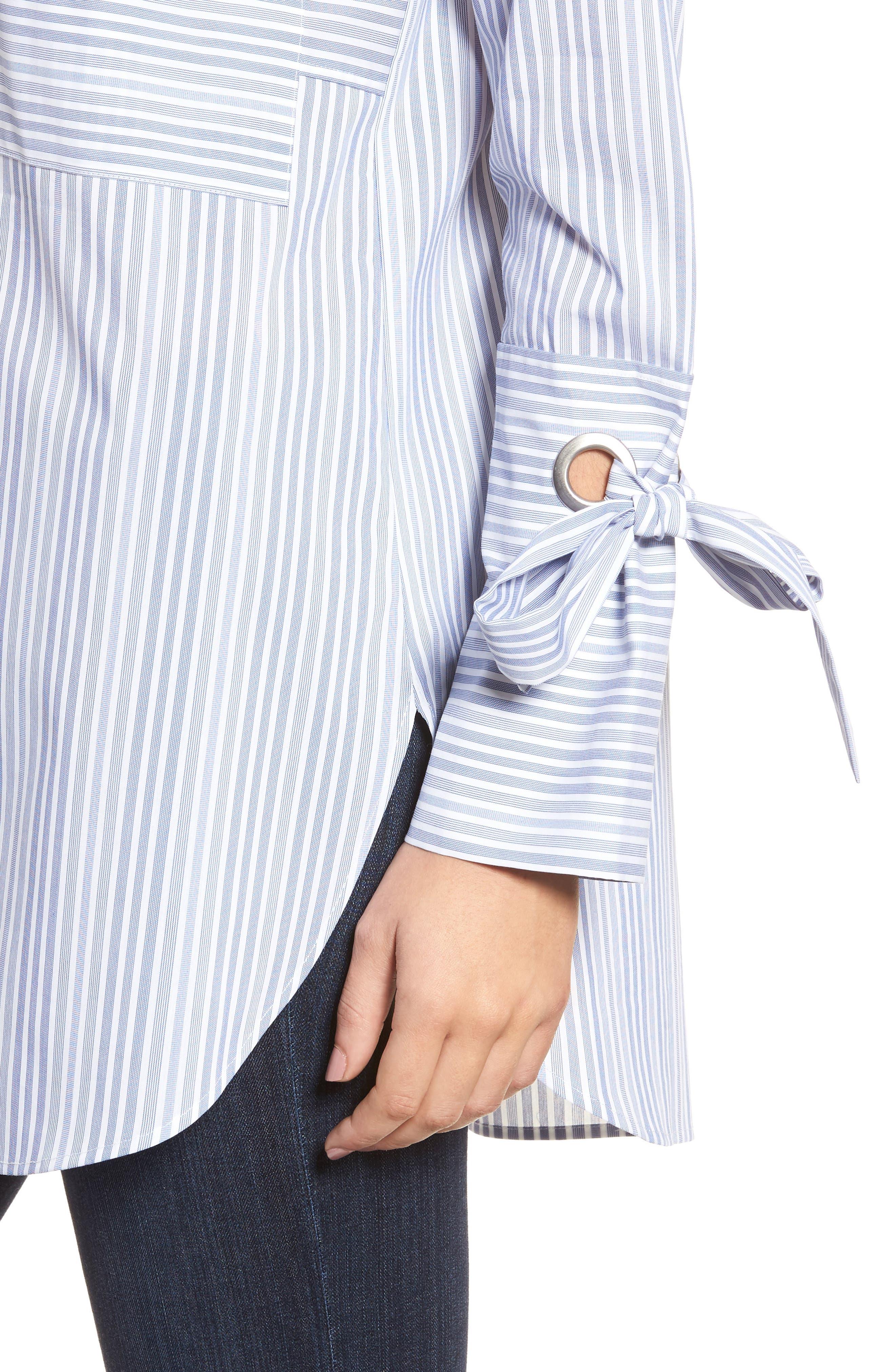 Pocket Detail Stripe Tunic Top,                             Alternate thumbnail 4, color,                             Blue- White Stripe