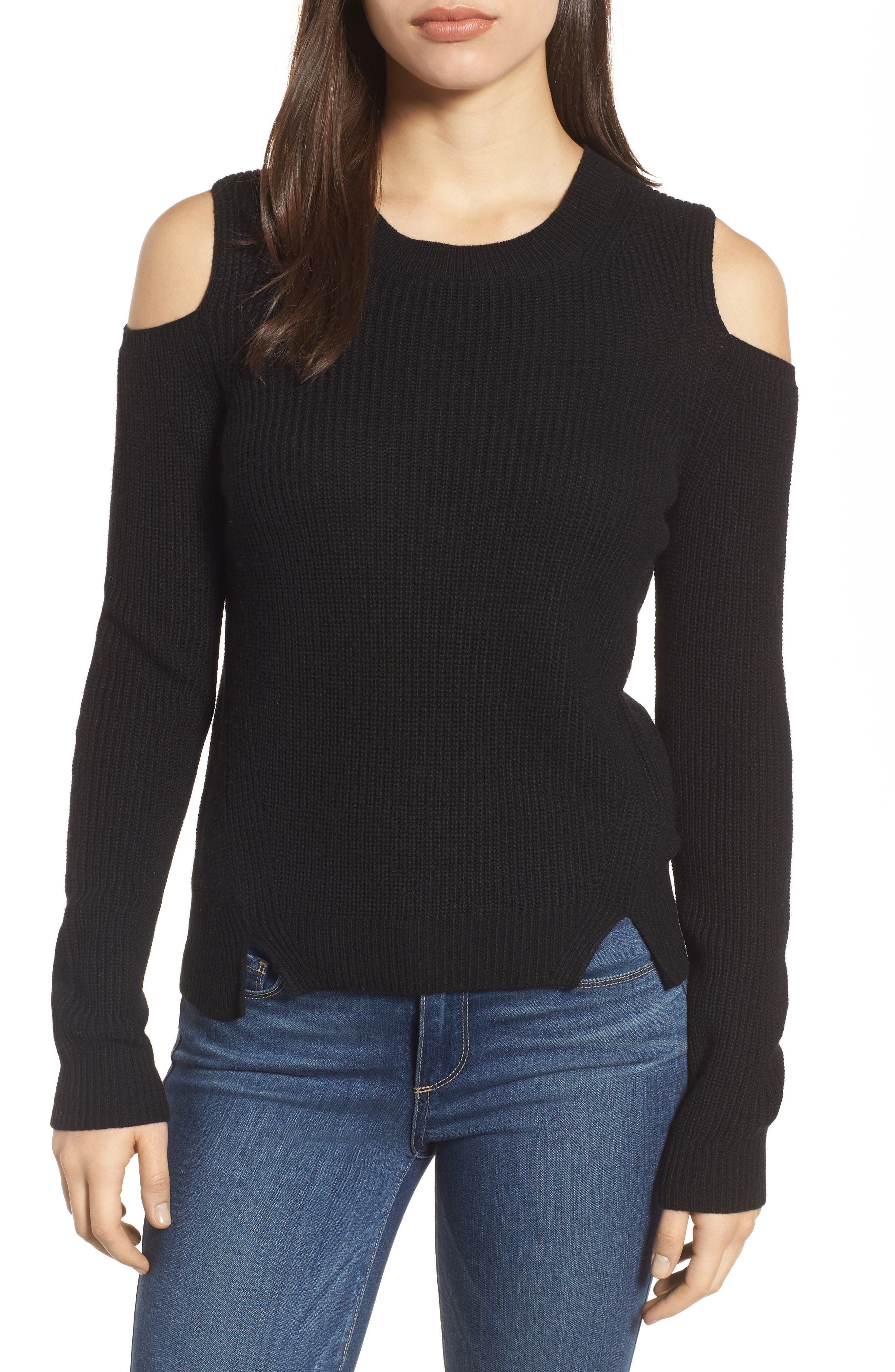 Cold Shoulder Pullover,                             Main thumbnail 1, color,                             Lucky Black