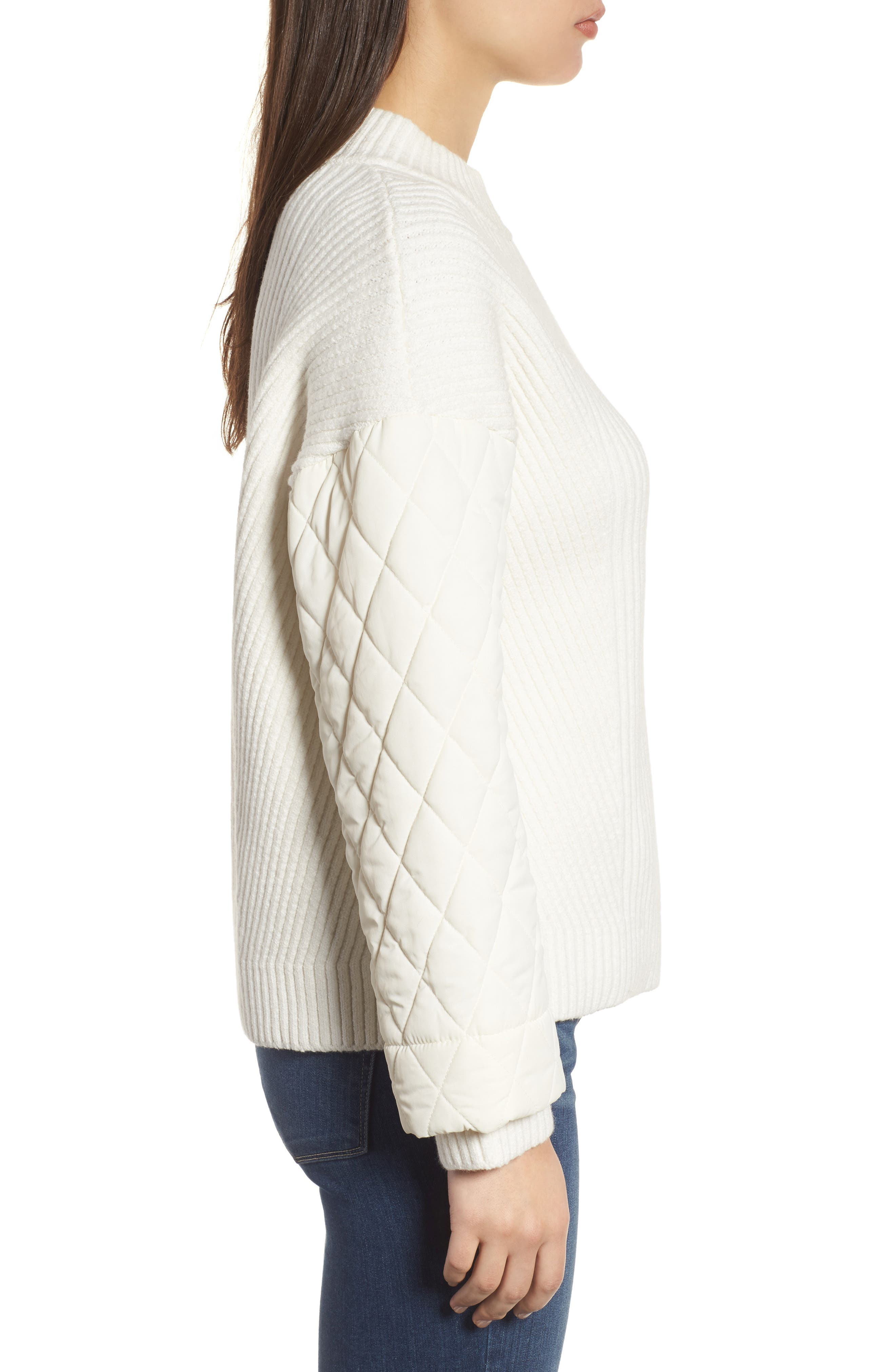 Quilted Sleeve Sweater,                             Alternate thumbnail 3, color,                             E Cream