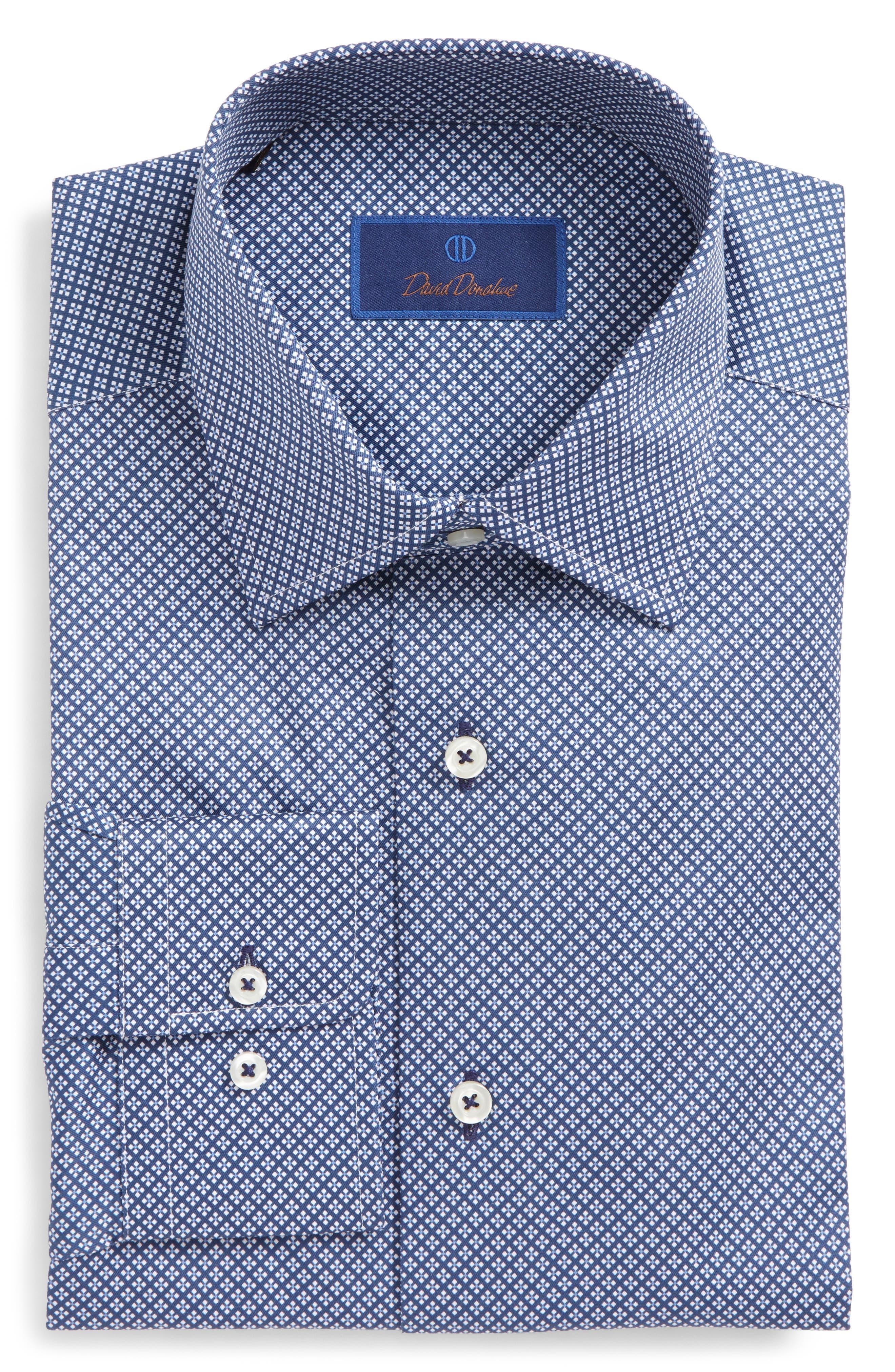 David Donahue Regular Fit Geometric Dress Shirt