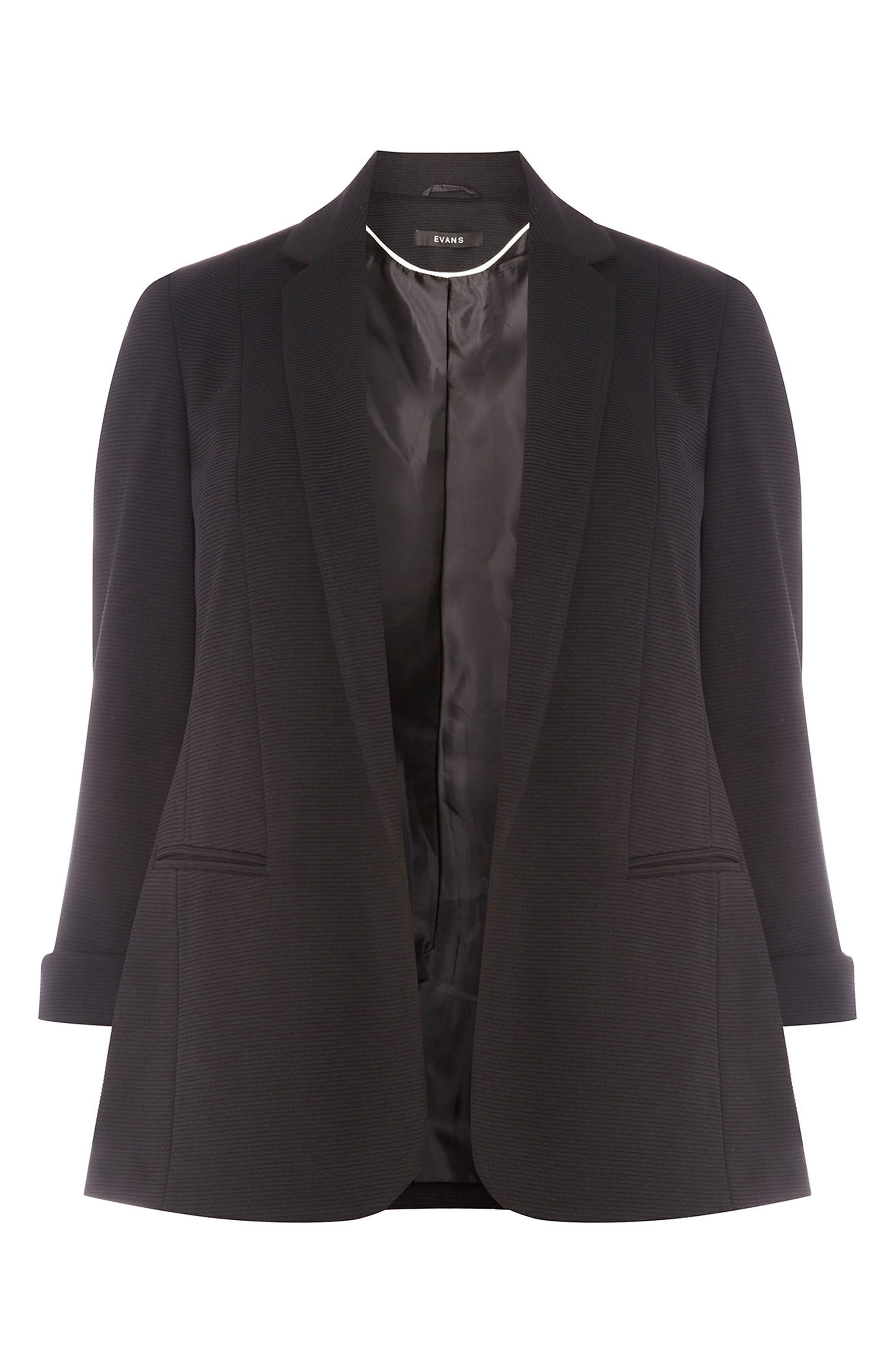 Alternate Image 5  - Evans Ribbed Knit Blazer (Plus Size)
