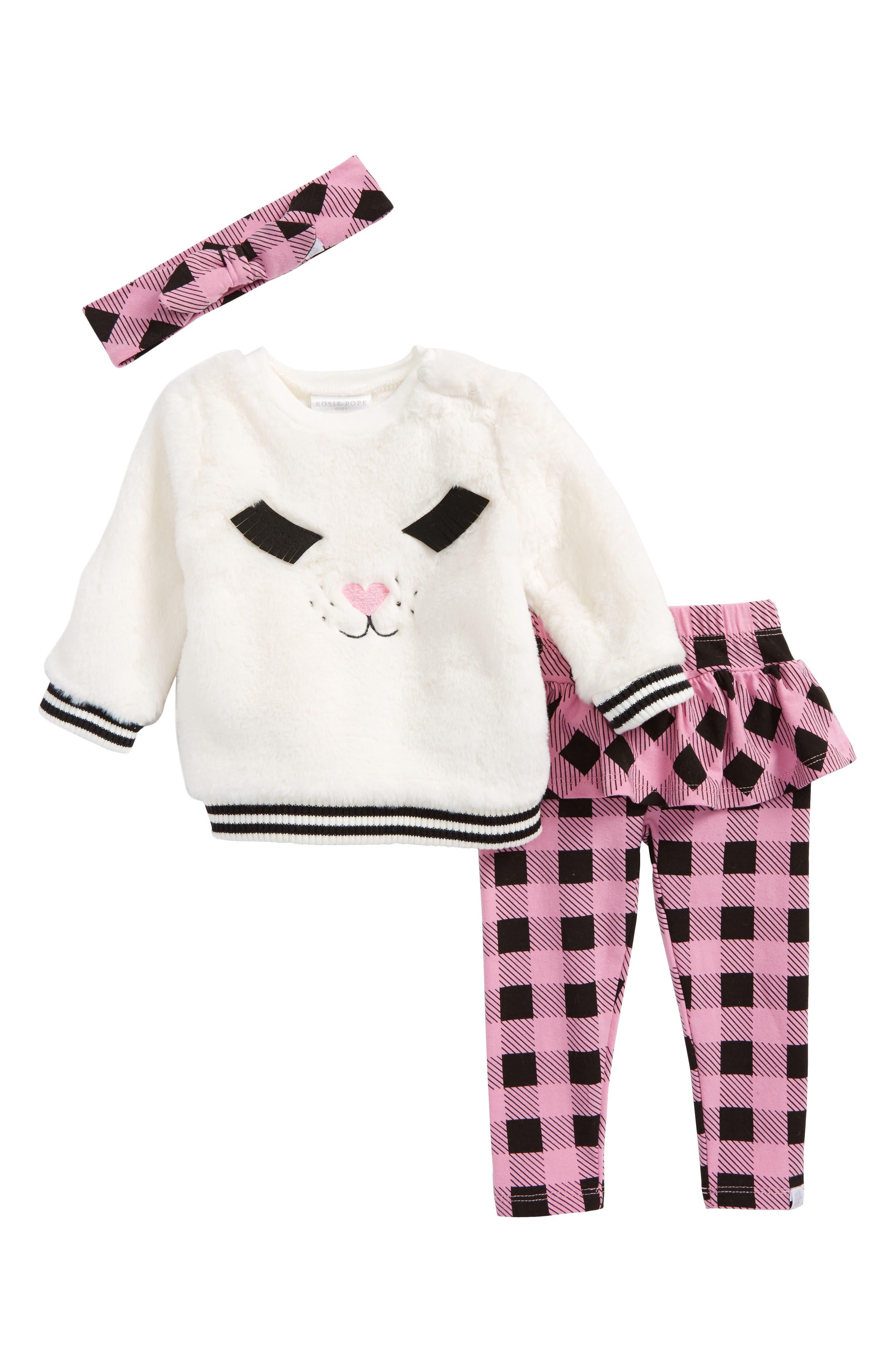 Rosie Pope Faux Fur Top, Skirted Leggings & Headband Set (Baby Girls)