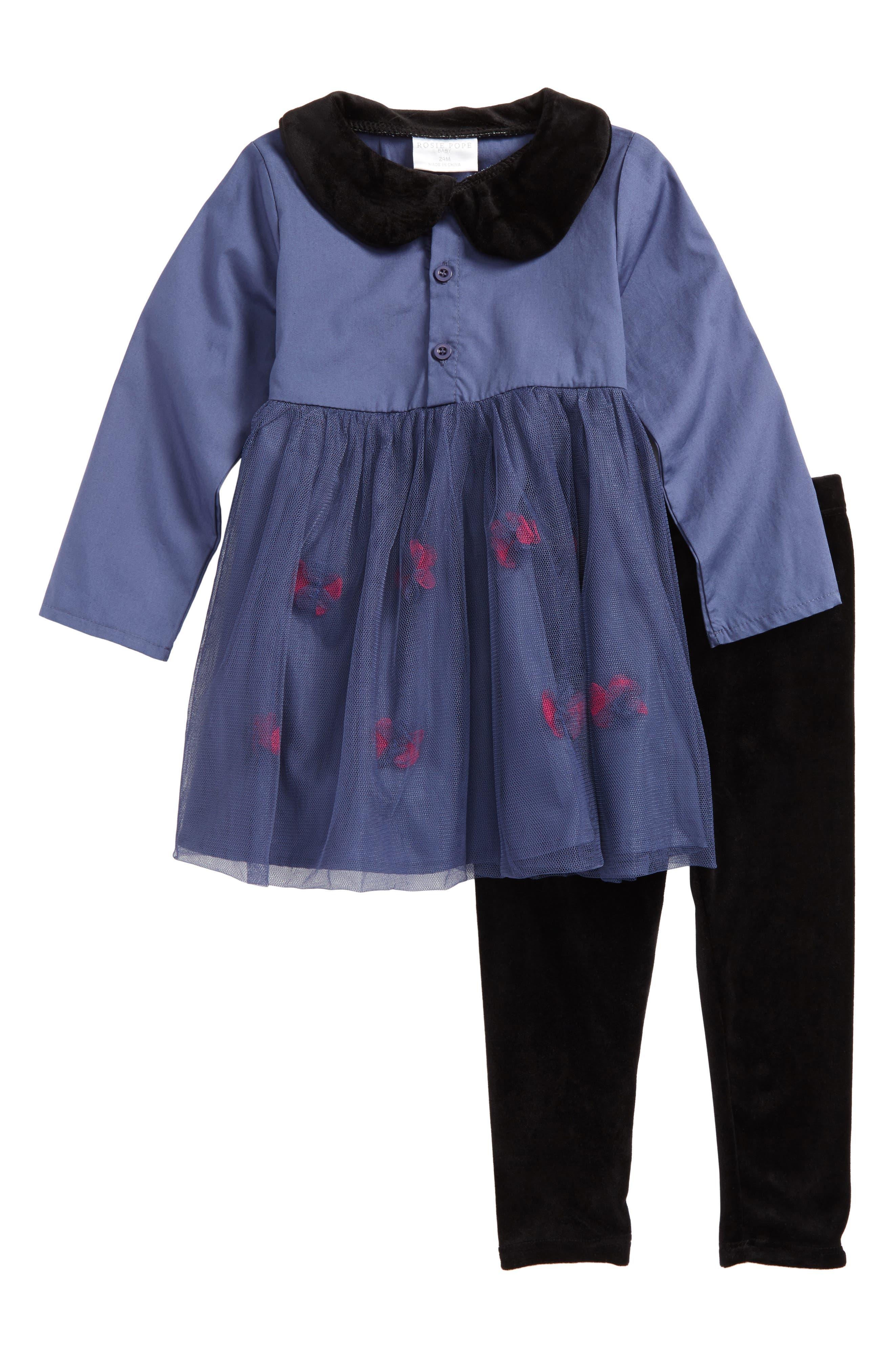 Rosie Pope Velvet Collar Dress & Leggings Set (Baby Girls)