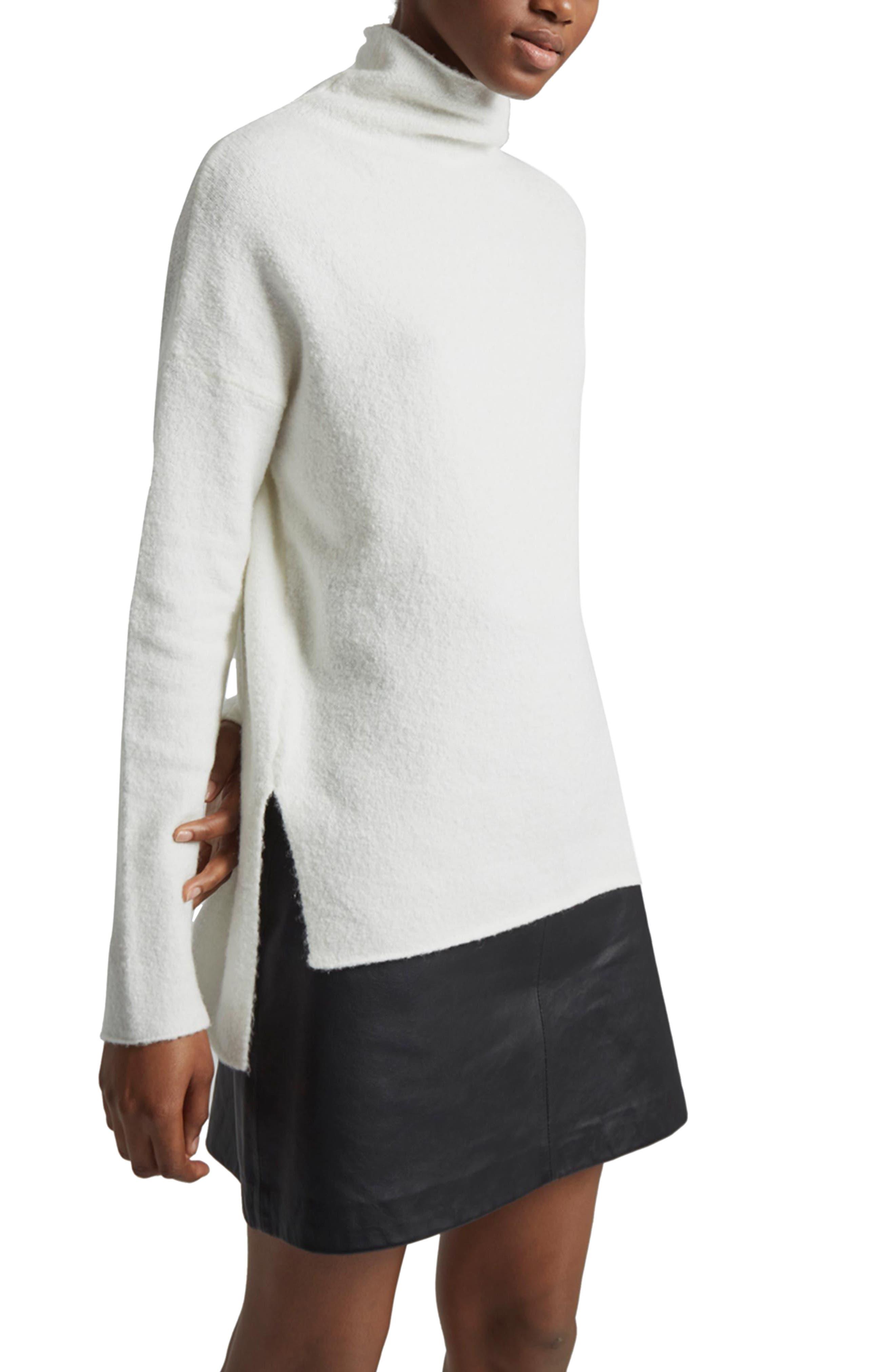 Aya Flossy Mock Neck Sweater,                             Main thumbnail 1, color,                             Winter White