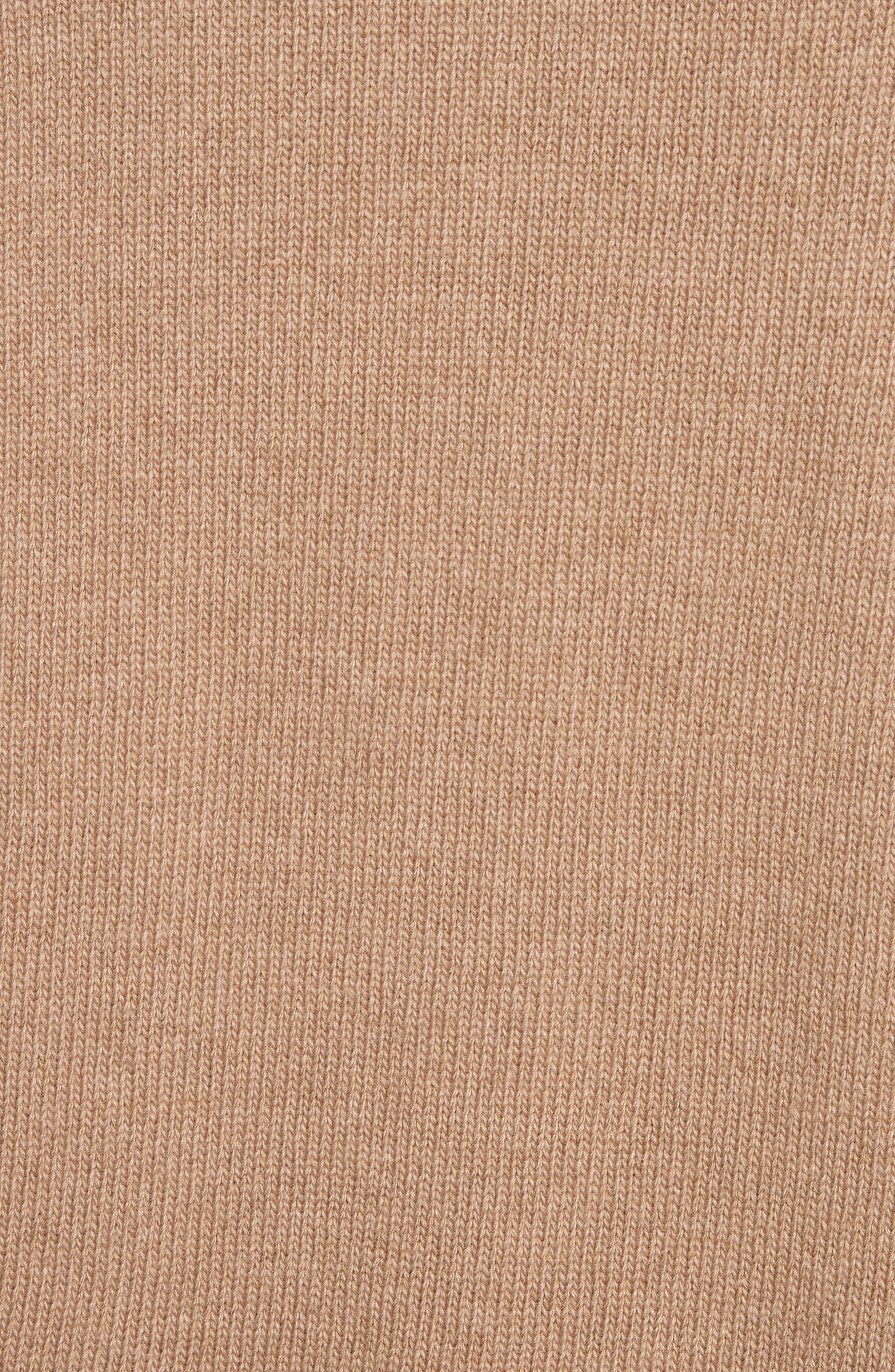 Suede Zip Detail Wool & Cashmere Crop Sweater,                             Alternate thumbnail 5, color,                             Cammello Melange
