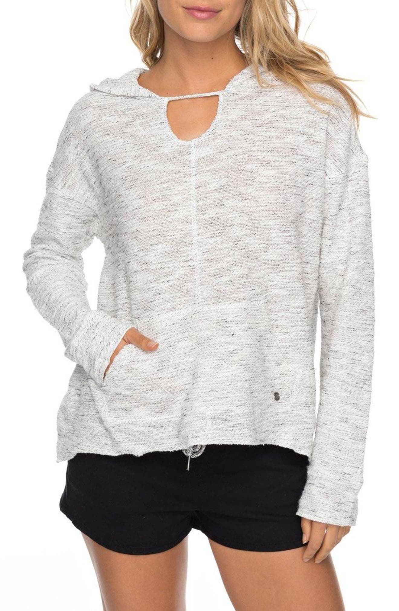 Crazy Waves Keyhole Hoodie,                             Main thumbnail 1, color,                             Marshmallow