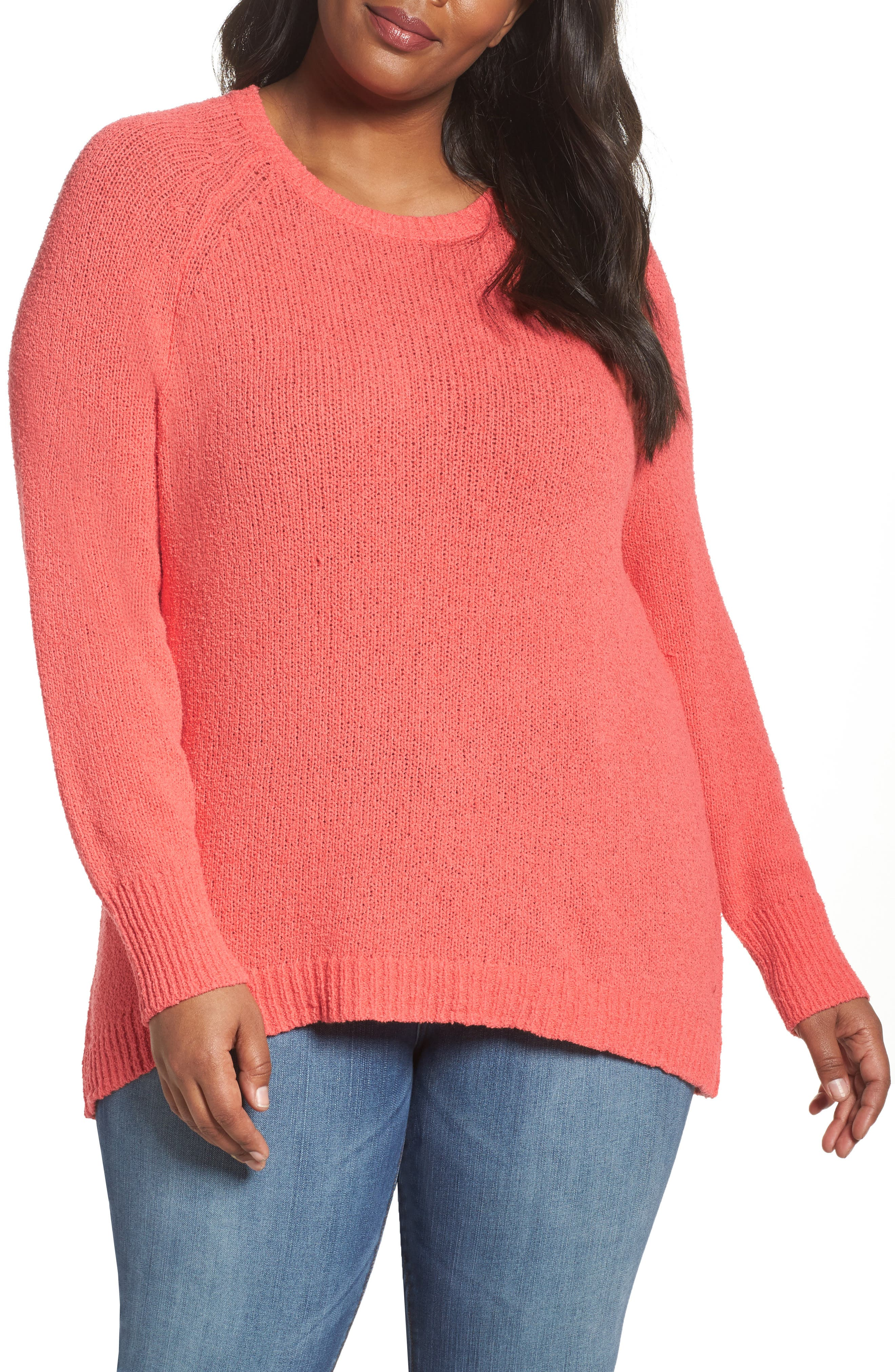 Relaxed Crewneck Sweater,                             Main thumbnail 1, color,                             Coral Sea