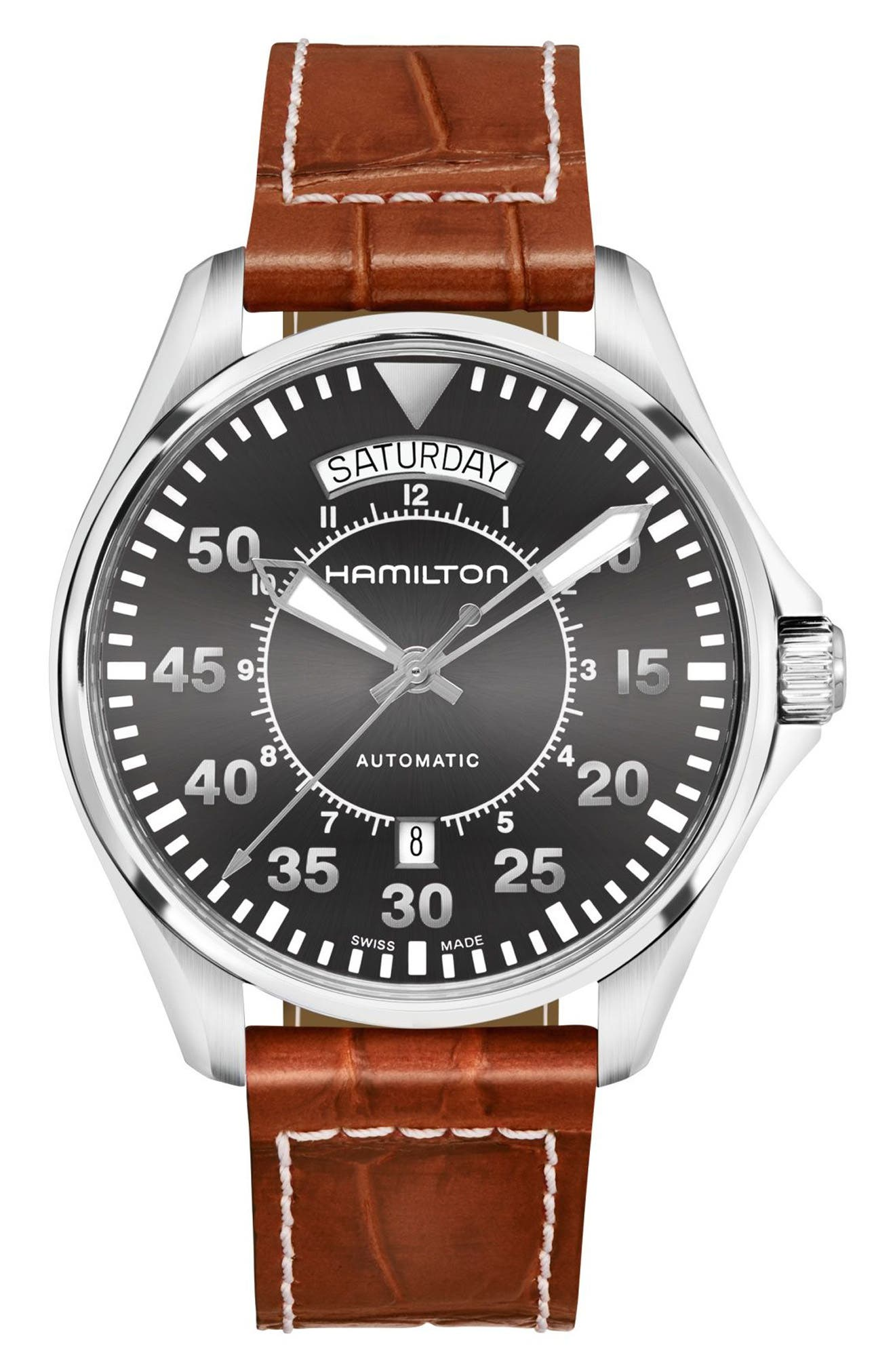 Khaki Pilot Automatic Leather Strap Watch, 42mm,                         Main,                         color, Brown/ Grey/ Silver