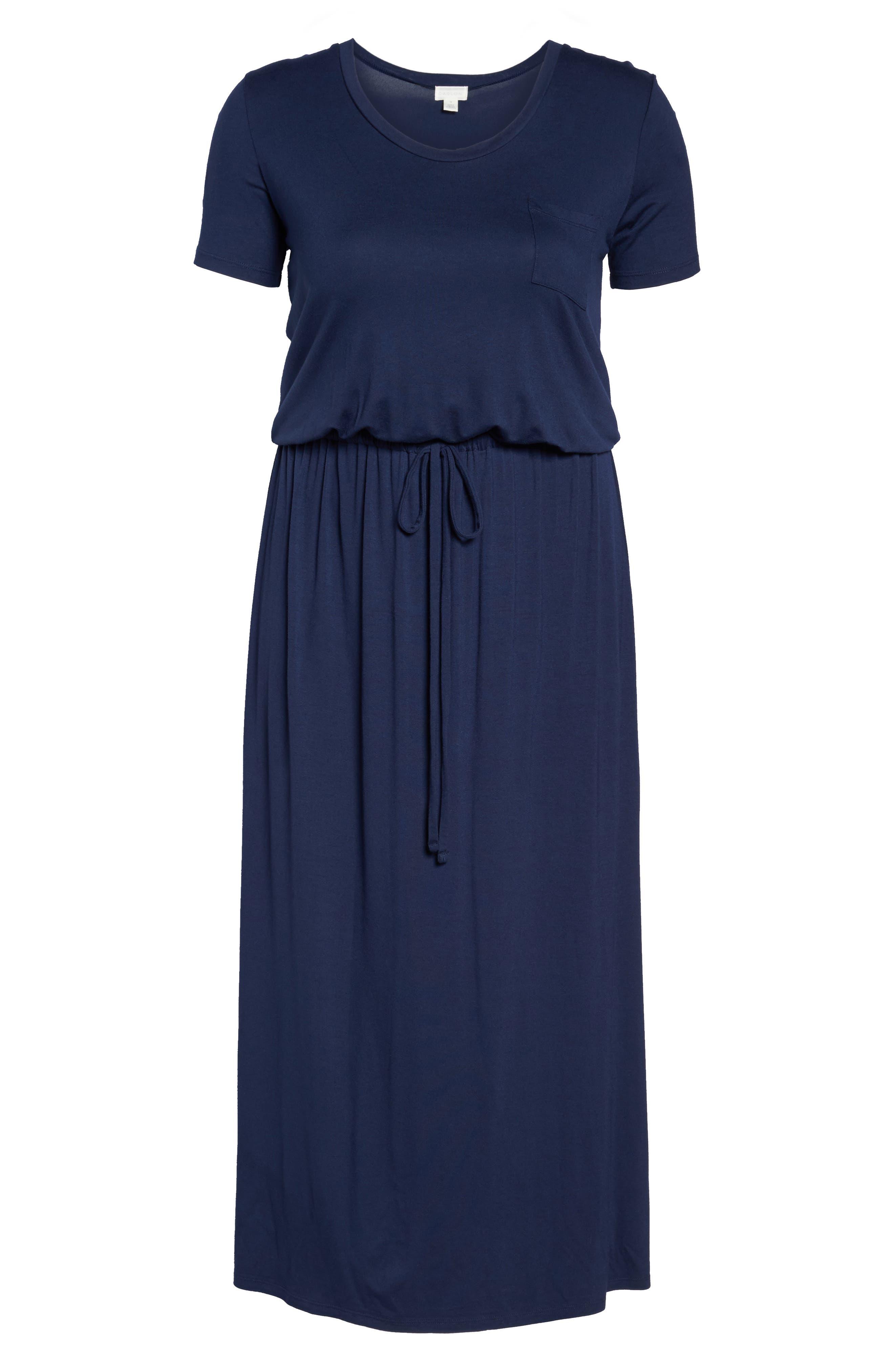 Knit Drawstring Waist Maxi Dress,                             Alternate thumbnail 7, color,                             Navy Peacoat