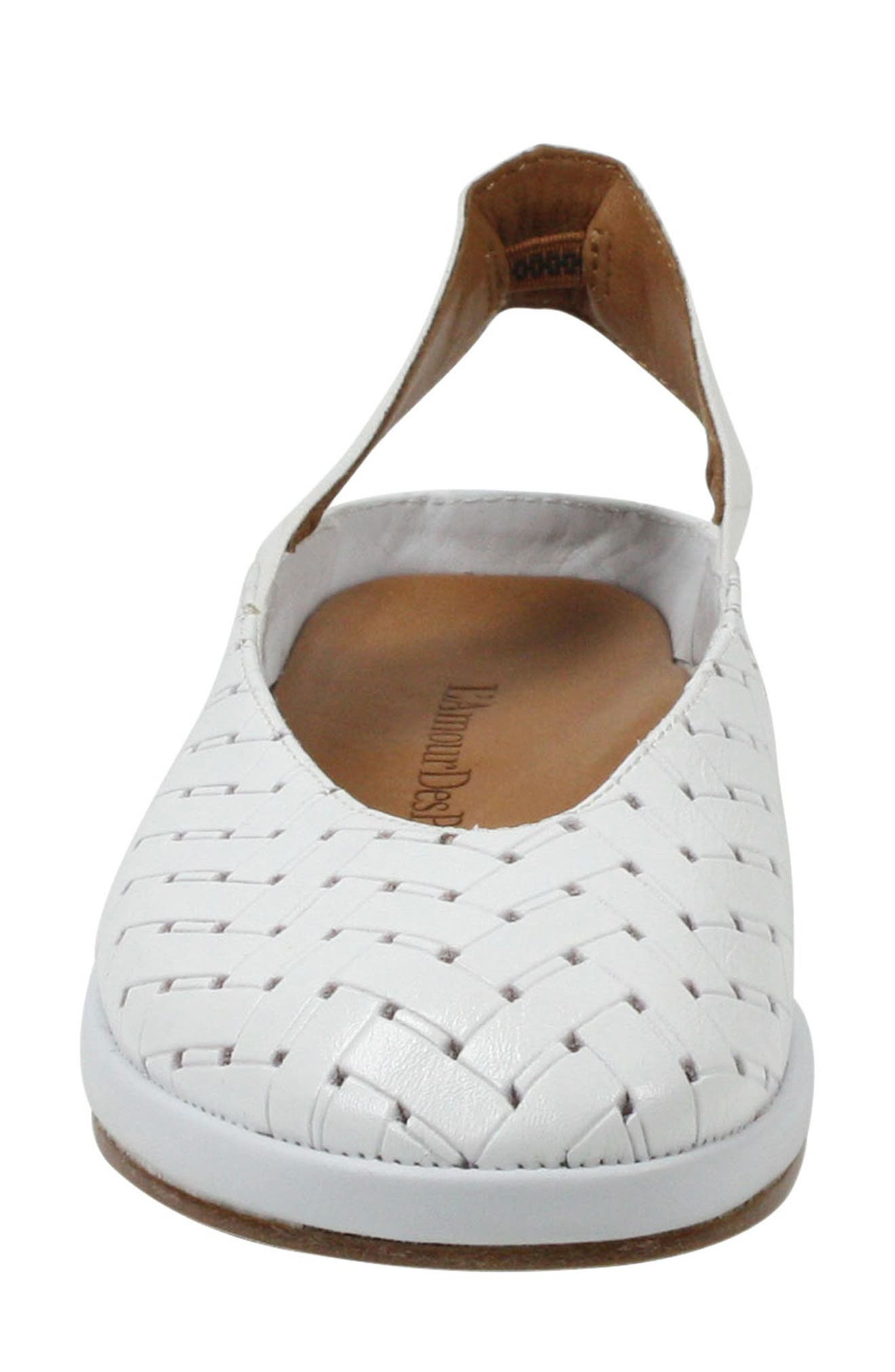 'Cypris' Slingback Wedge,                             Alternate thumbnail 4, color,                             White Leather