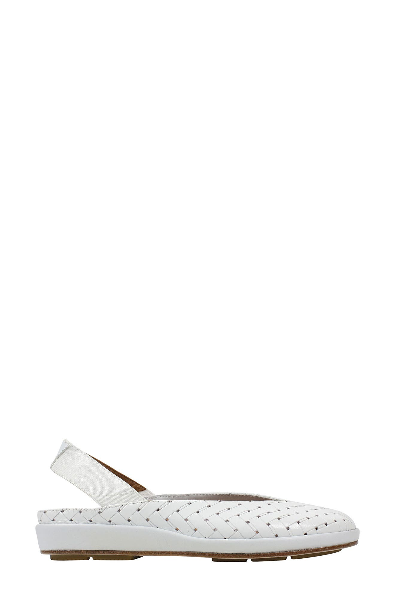 'Cypris' Slingback Wedge,                             Alternate thumbnail 3, color,                             White Leather