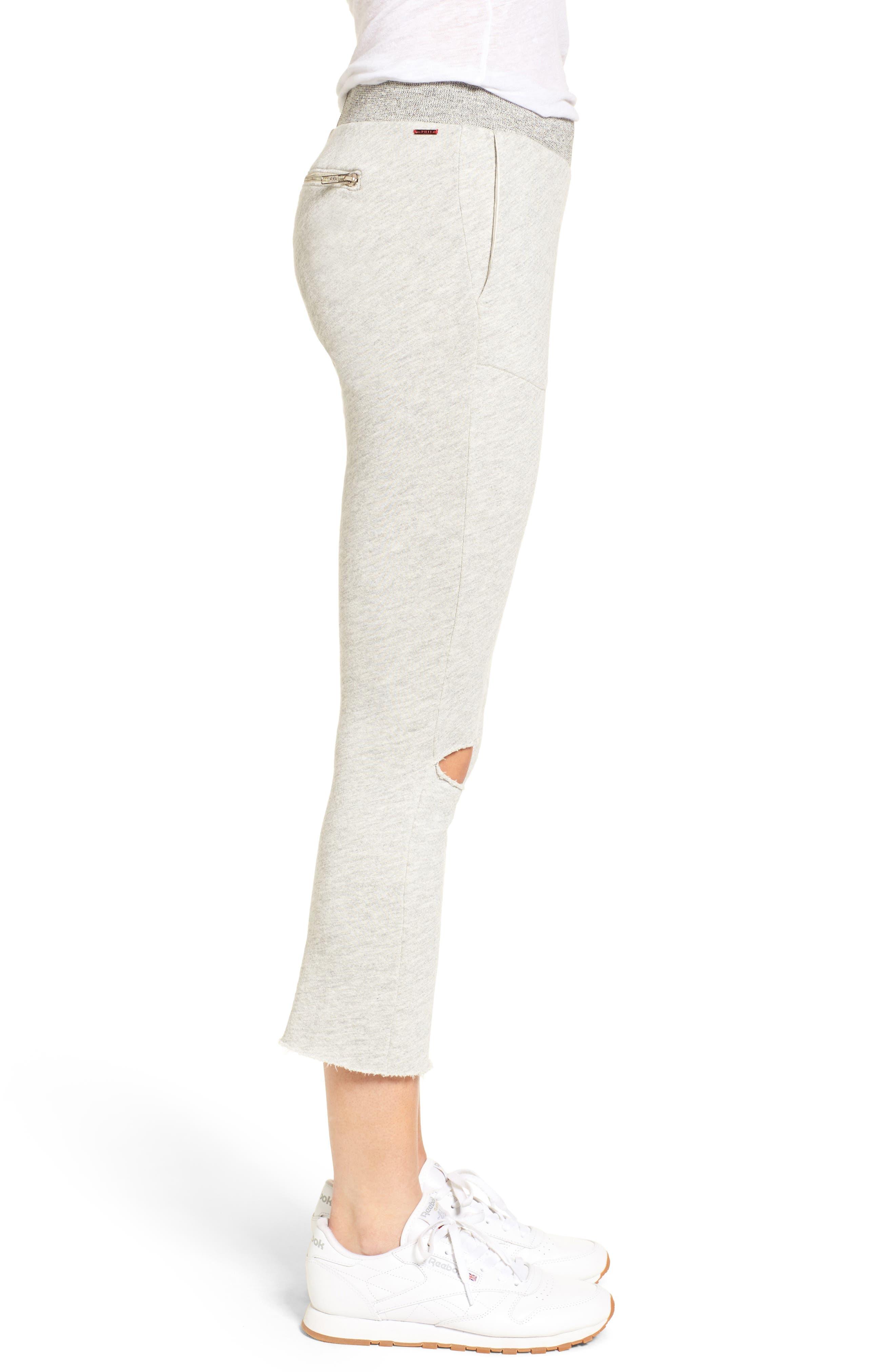 Malibu Slit Knee Sweatpants,                             Alternate thumbnail 3, color,                             Heather Grey